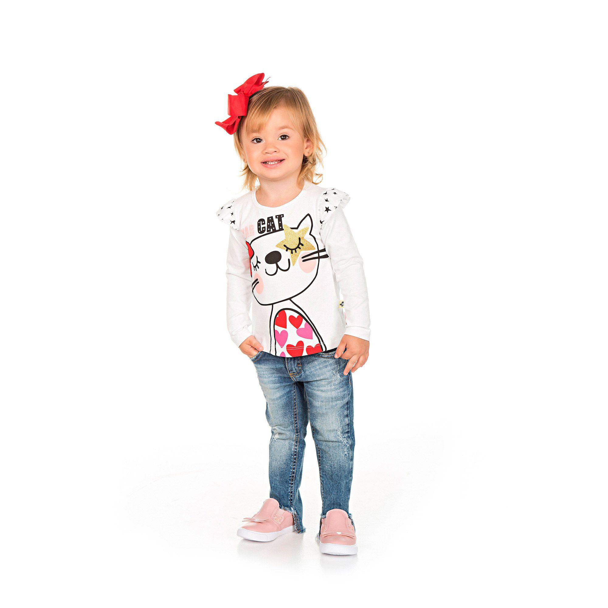 Blusa Infantil em Cotton - Ref 4963 - Branca