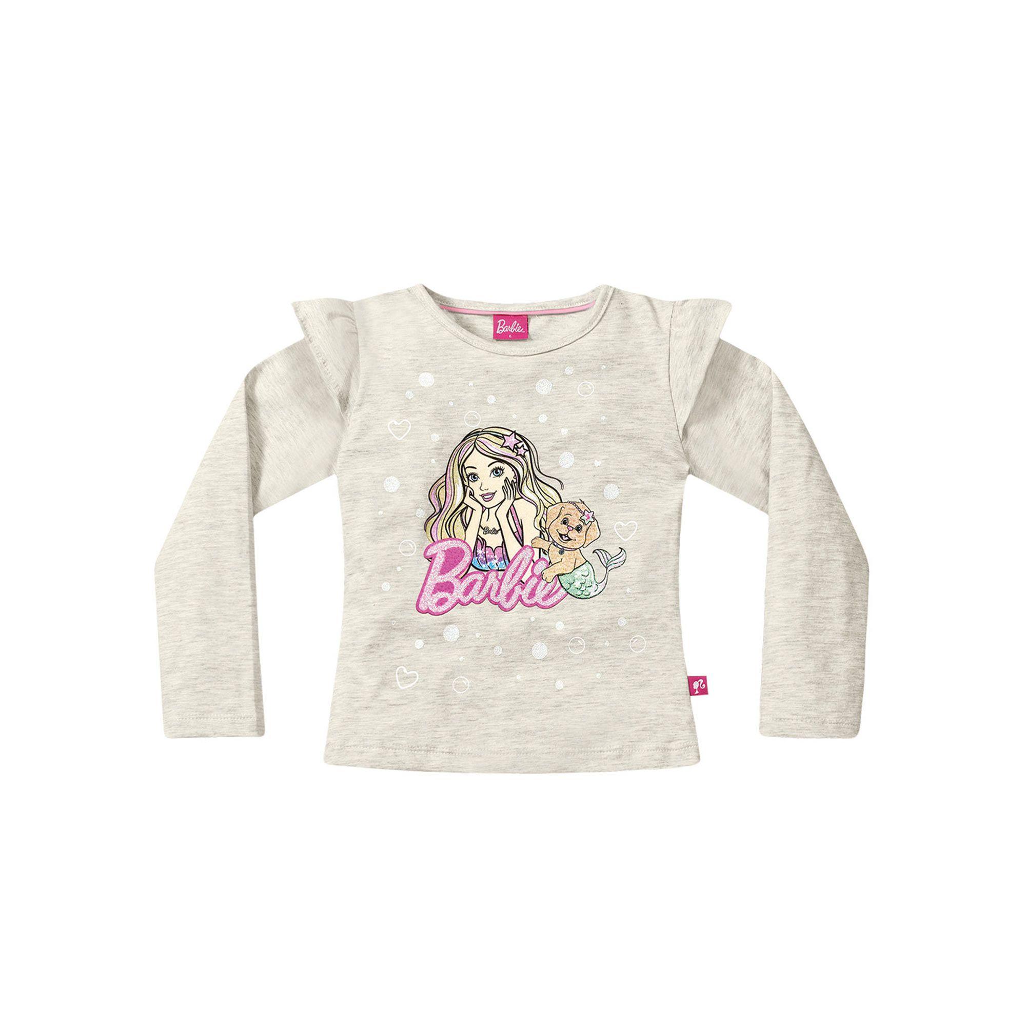 Blusa Manga Longa Infantil Fakini - Barbie Mescla