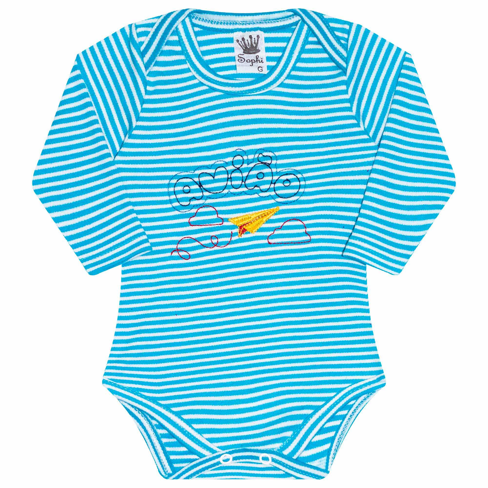Body para Bebê Bordado Avião - Azul - Sophy