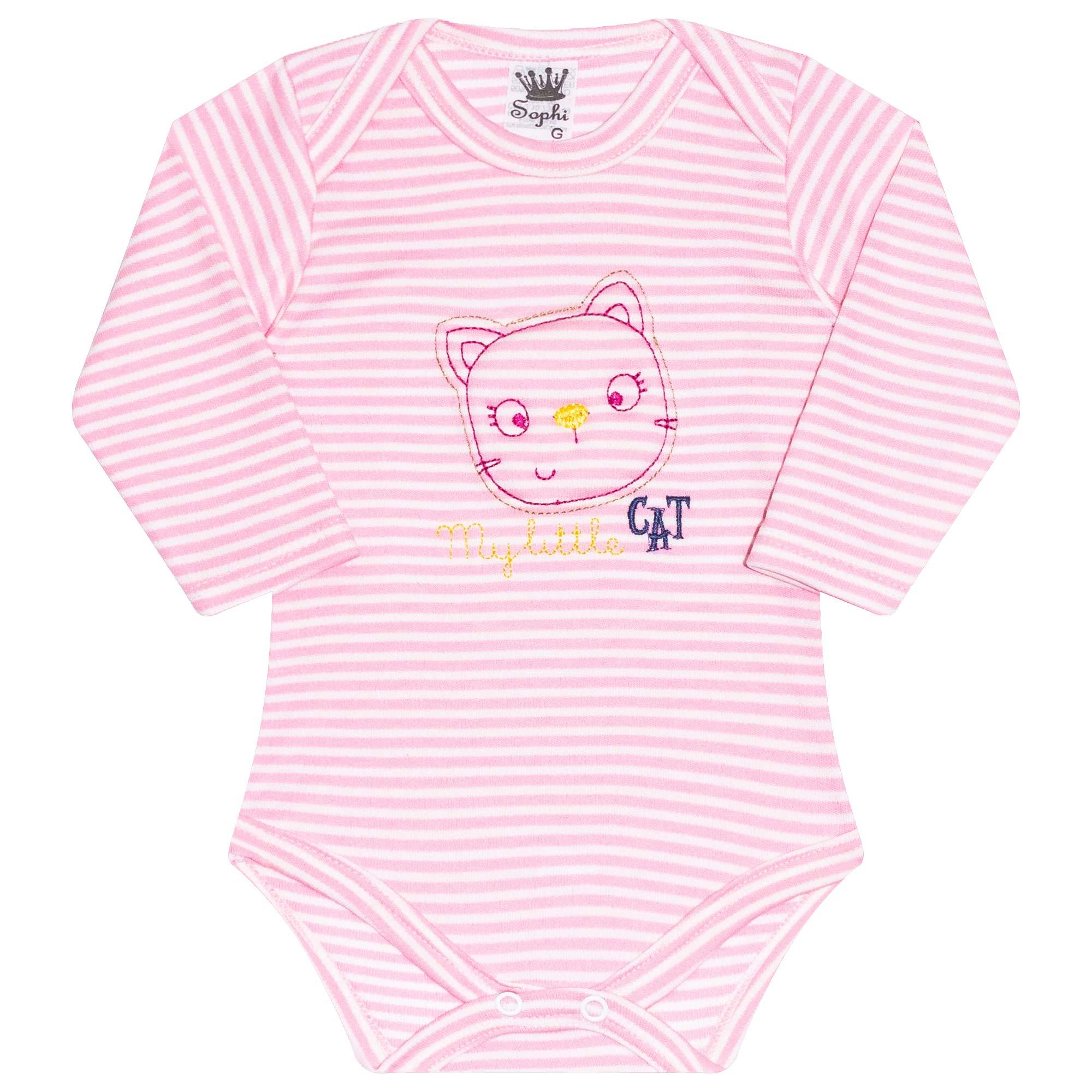 Body para Bebê Bordado Cat - Rosa - Sophy