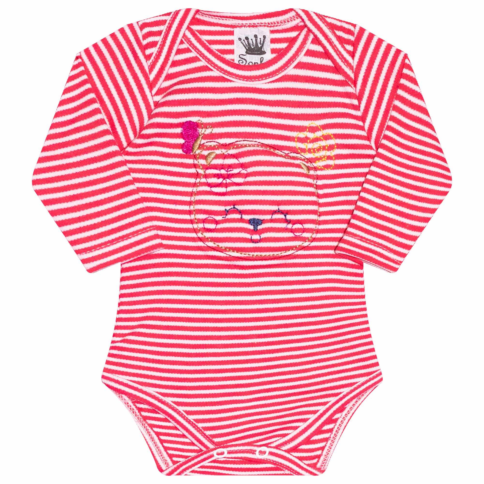 Body para Bebê Bordado Ursinho - Rosa - Sophy