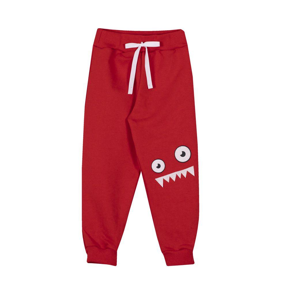 Calça Infantil Masculina Monstrinho Andritex Vermelha