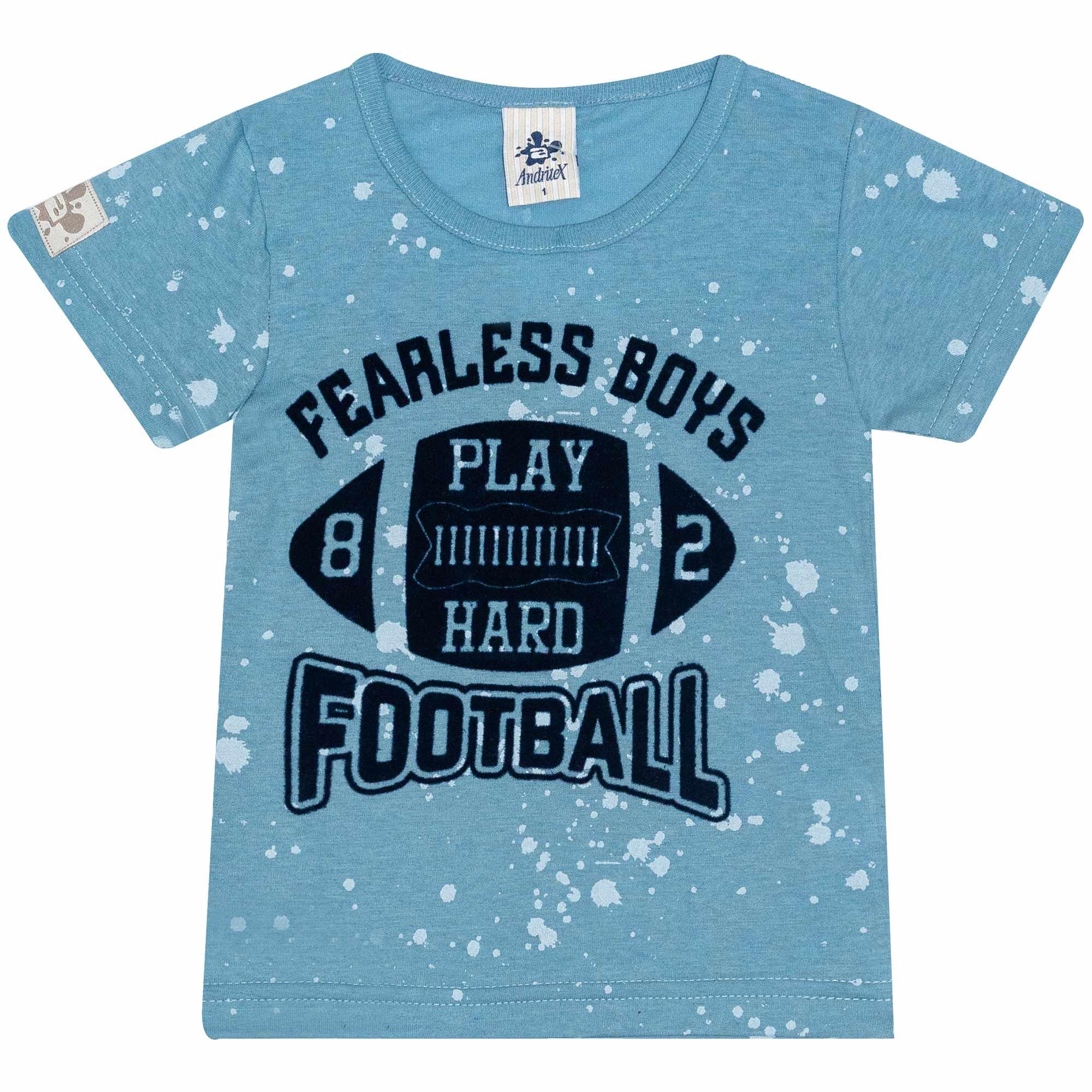 Camiseta Infantil Masculino - Ref 4740  - Azul - Andritex