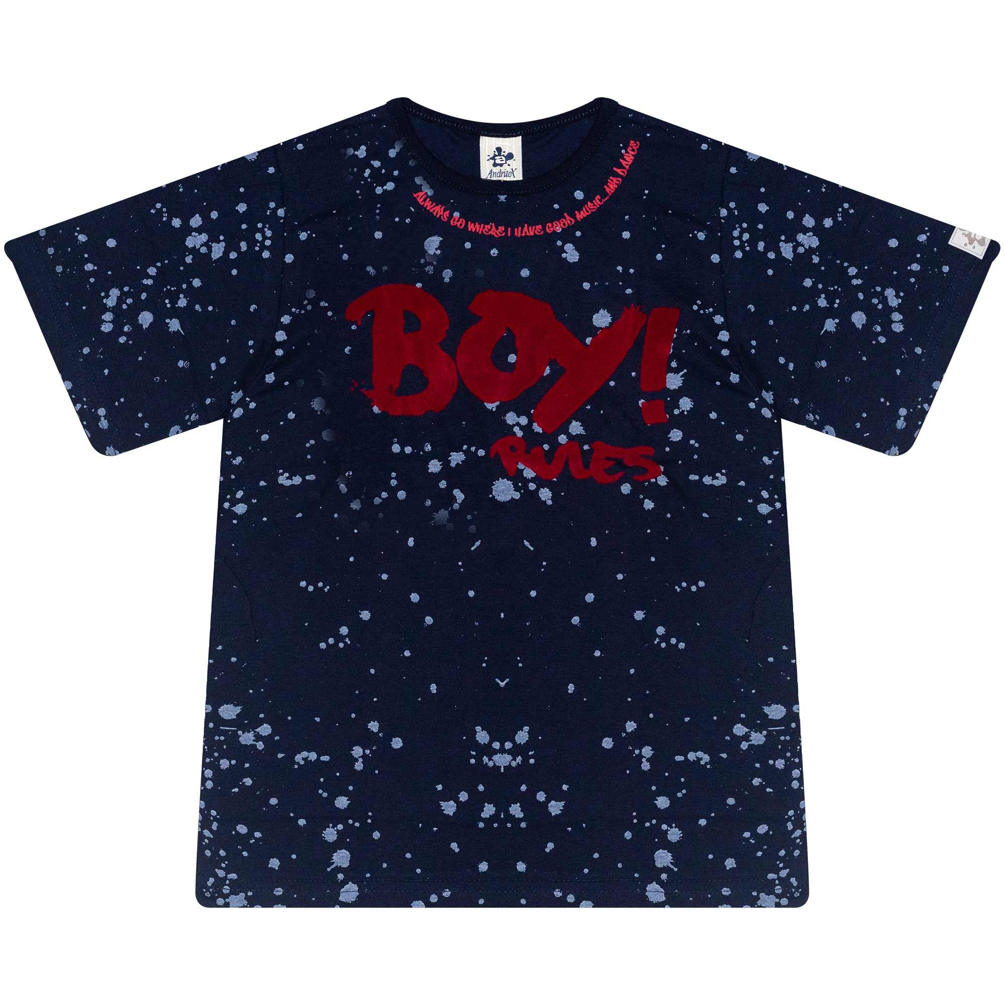 Camiseta Infantil Masculino - Ref 4786  - Azul - Andritex