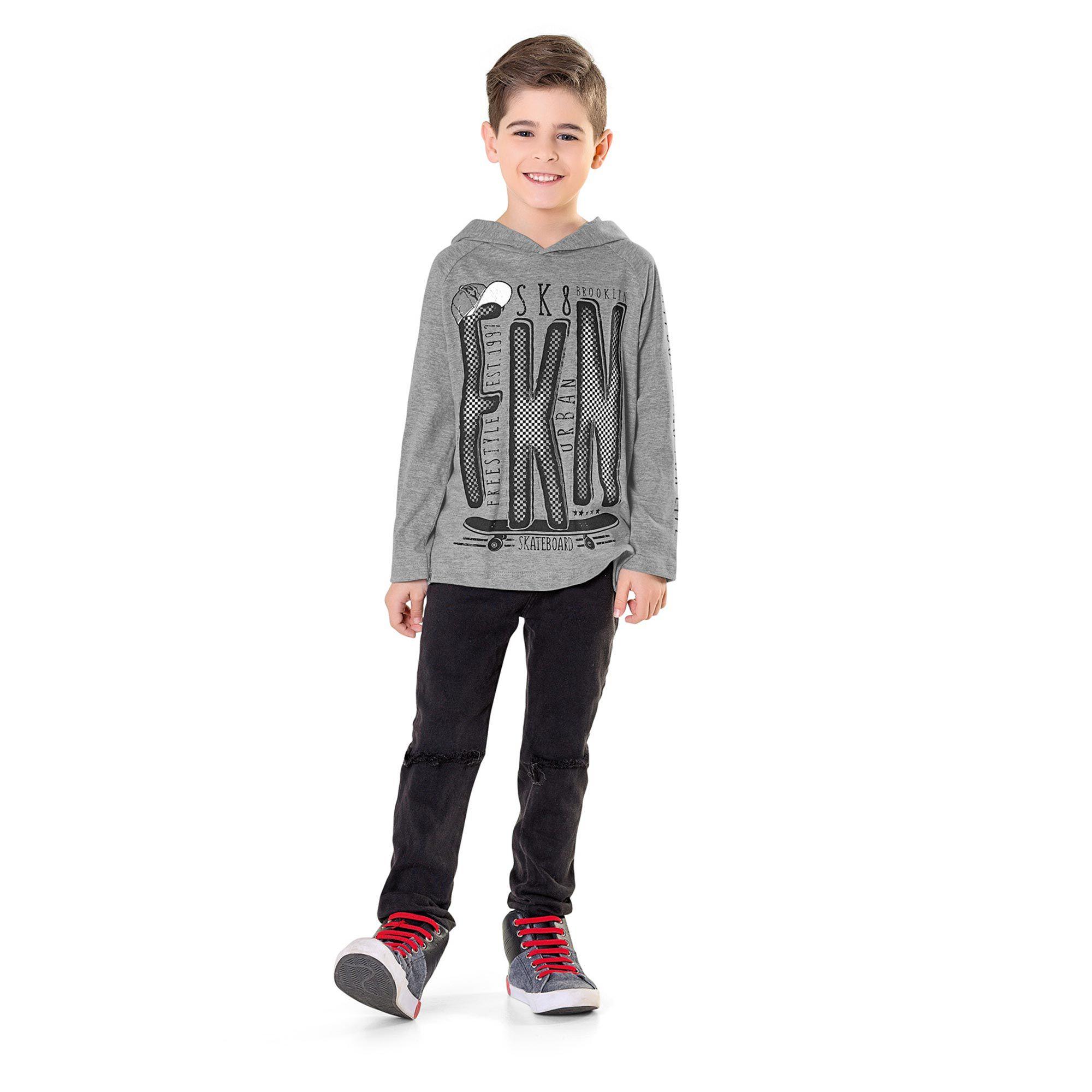 Camiseta Manga Longa Infantil com Capuz Fakini - Sk8 Mescla