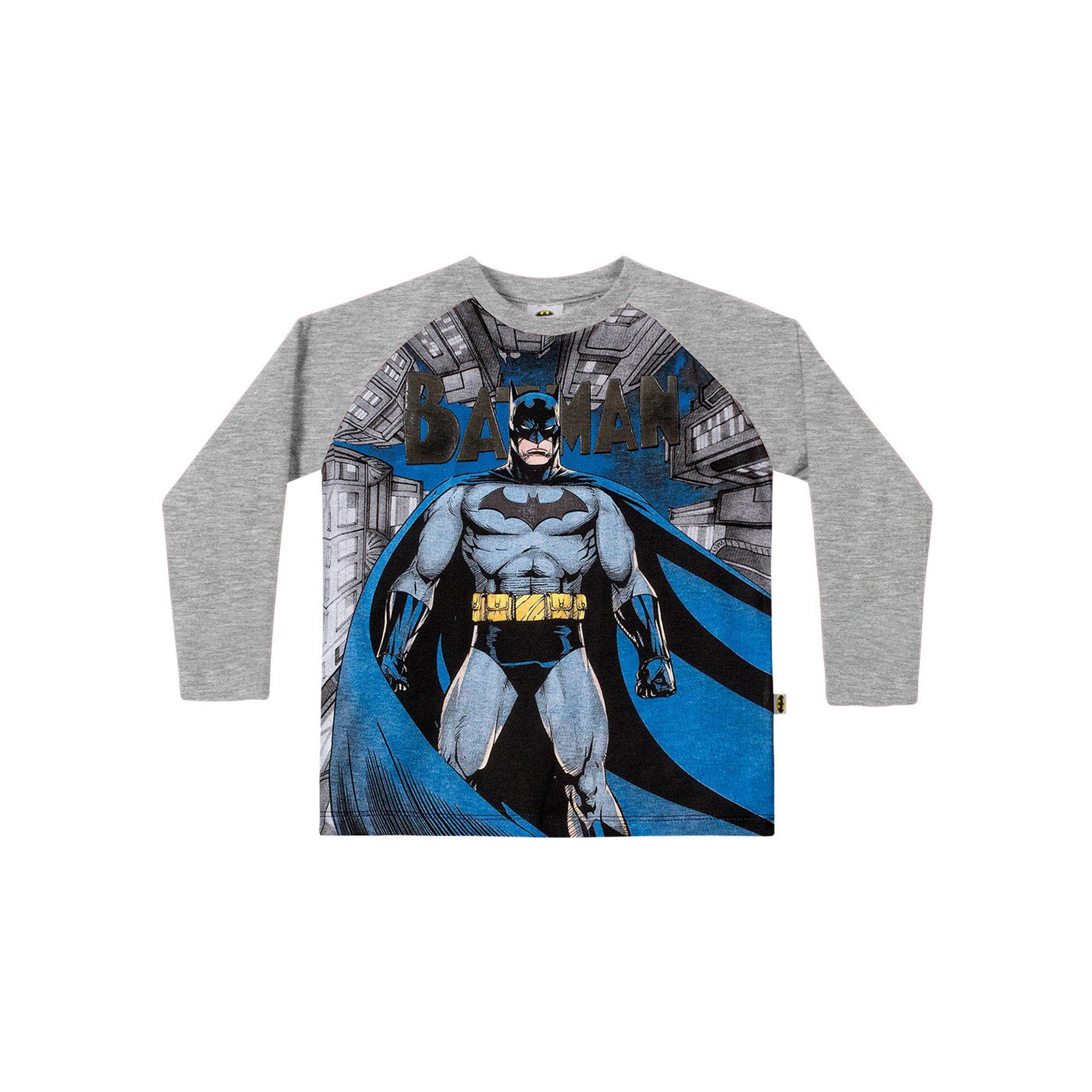 Camiseta Manga Longa Infantil Fakini - Batman Mescla