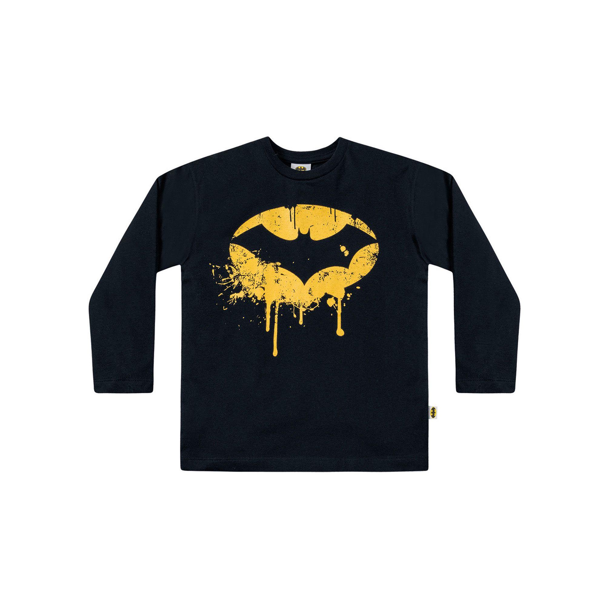 Camiseta Manga Longa Infantil Fakini - Batman Preto