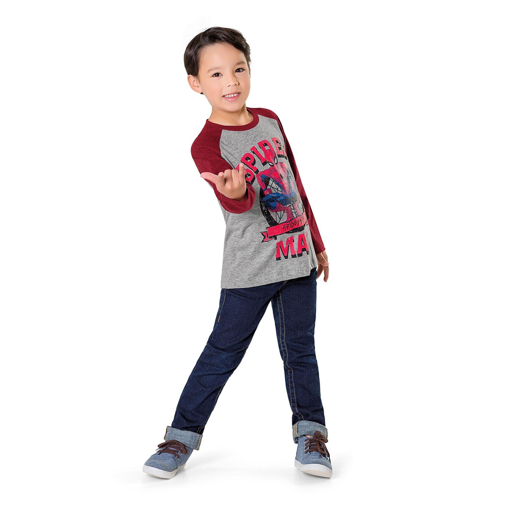 Camiseta Manga Longa Infantil Fakini - Spider Man Mescla
