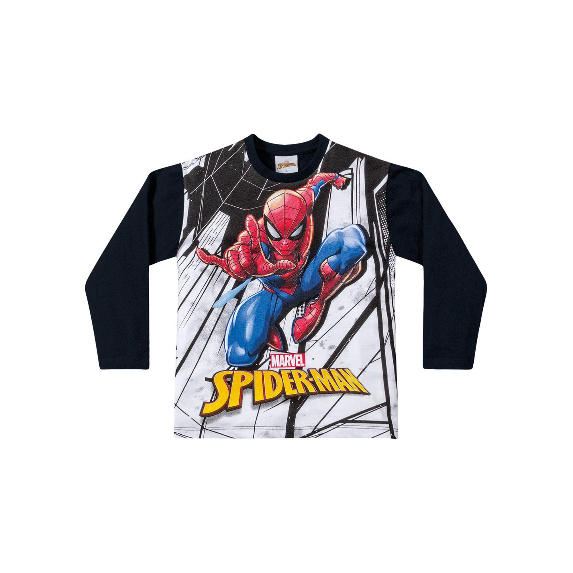 Camiseta Manga Longa Infantil Fakini - Spider Man Preto