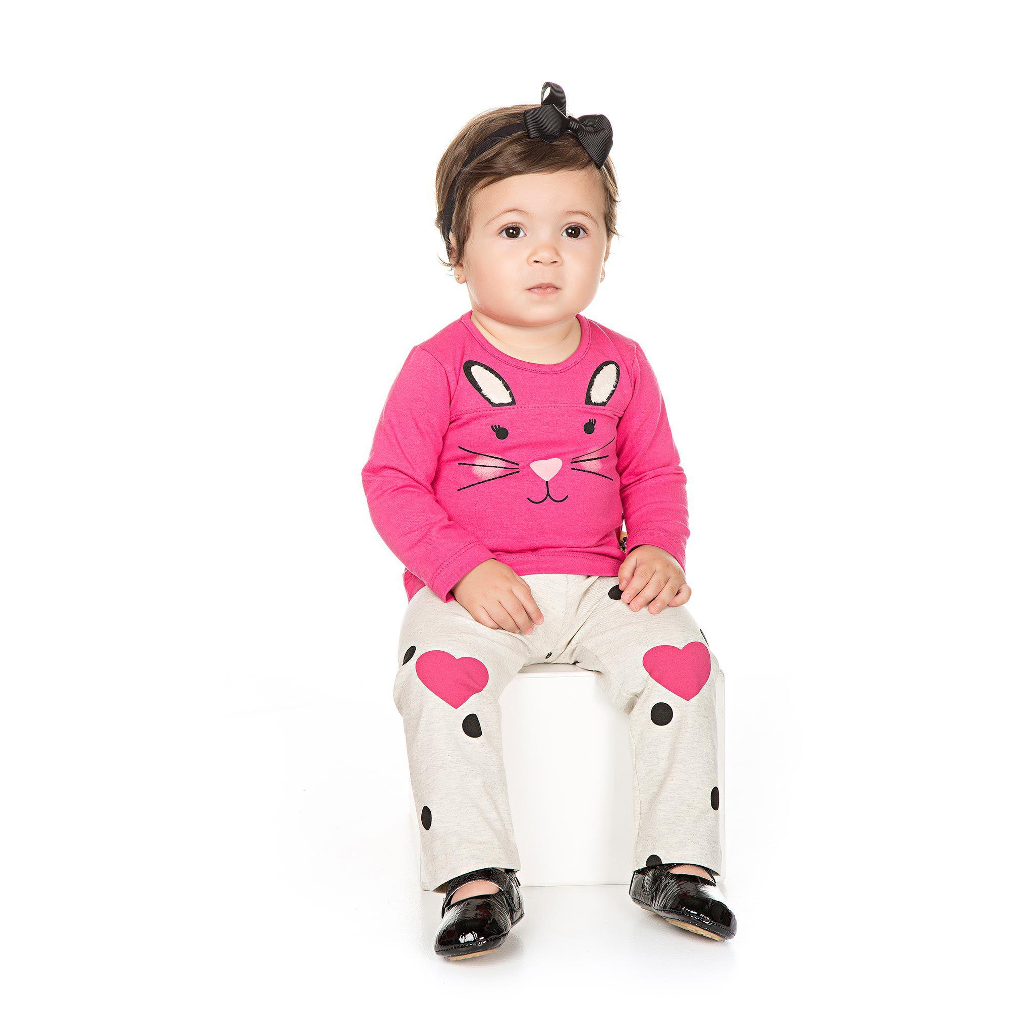 Conjunto Blusa e Legging  para Bebê 2 peças - Ref 4936 - Pink/Mescla
