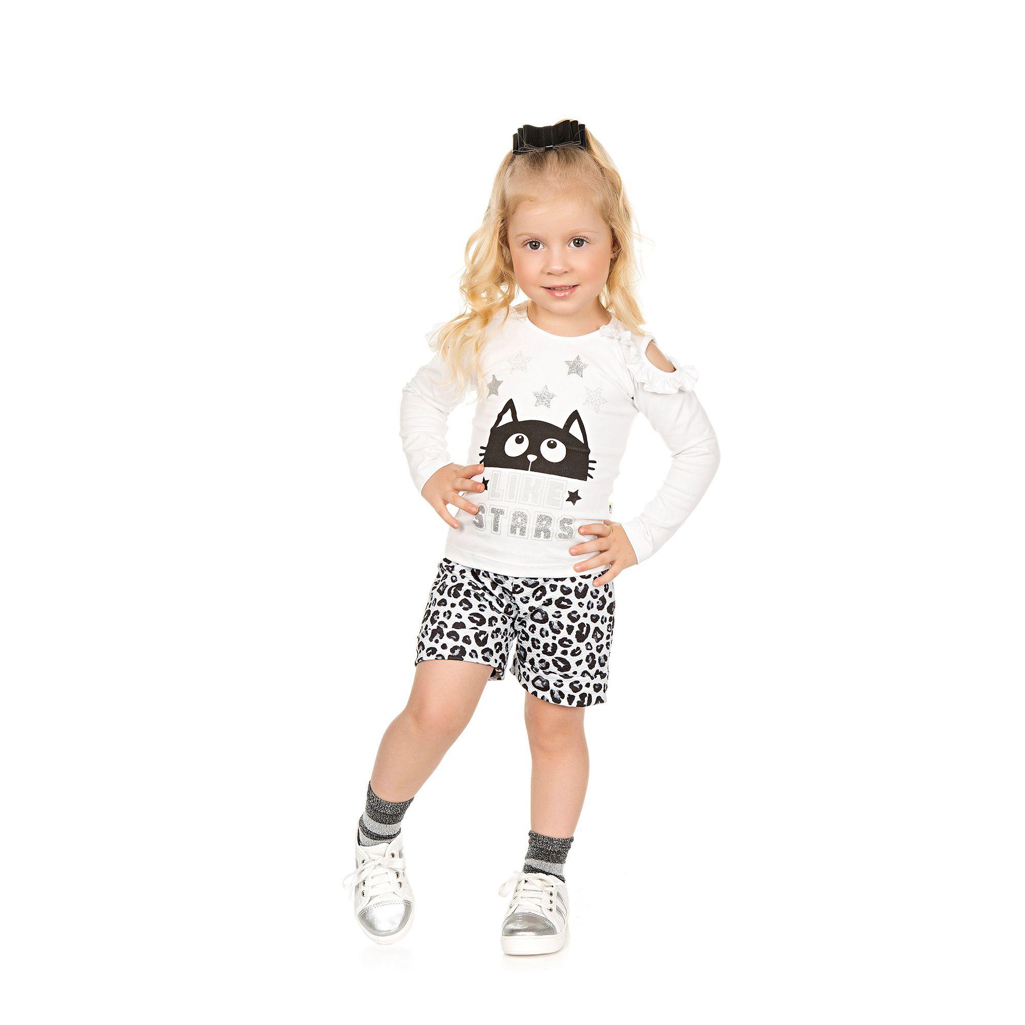 Conjunto Blusa + Shorts Infantil 2 peças - Ref 4961 - Branco/ME02