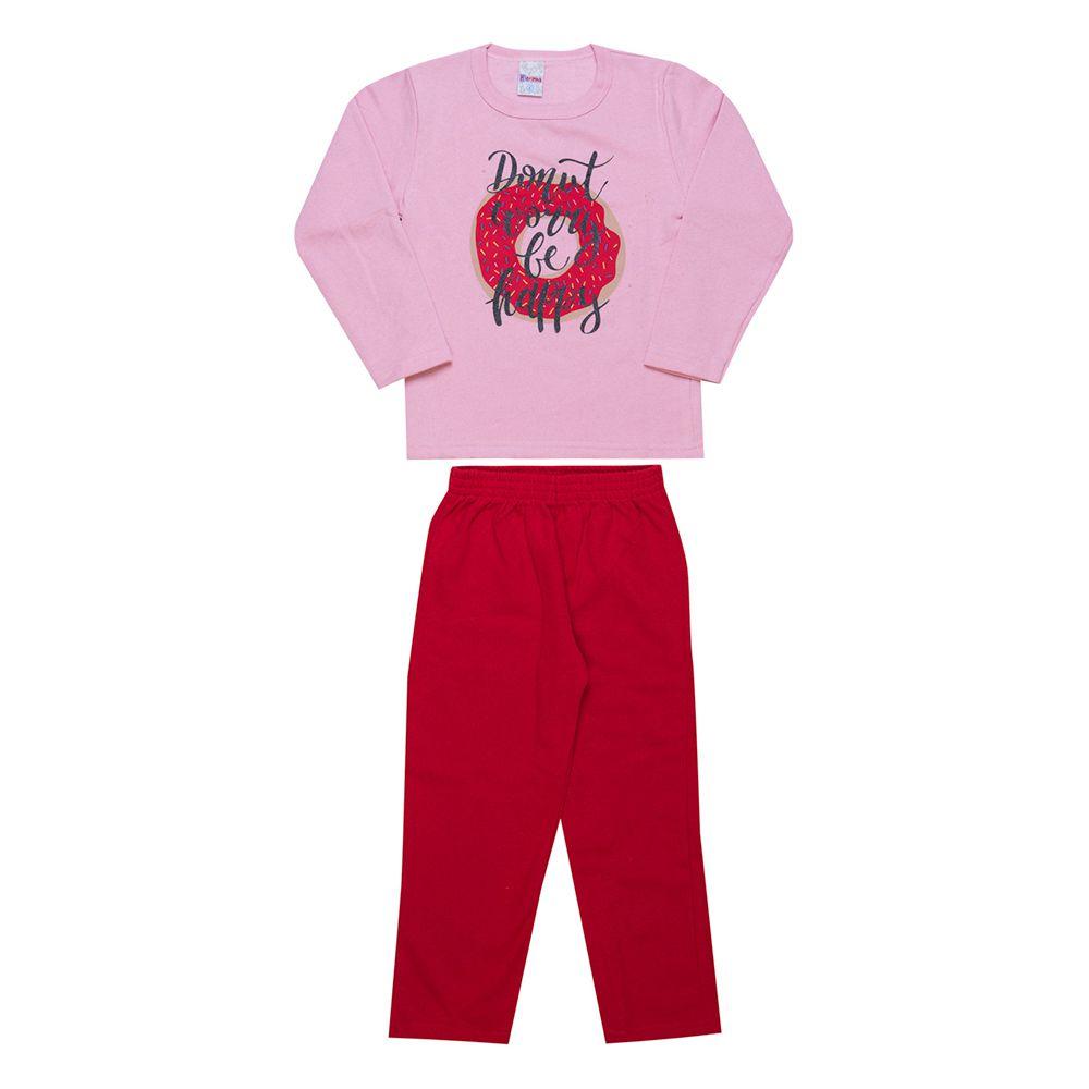 Conjunto Infantil  2 peças - Ref 1949 - Rosa/Vermelho