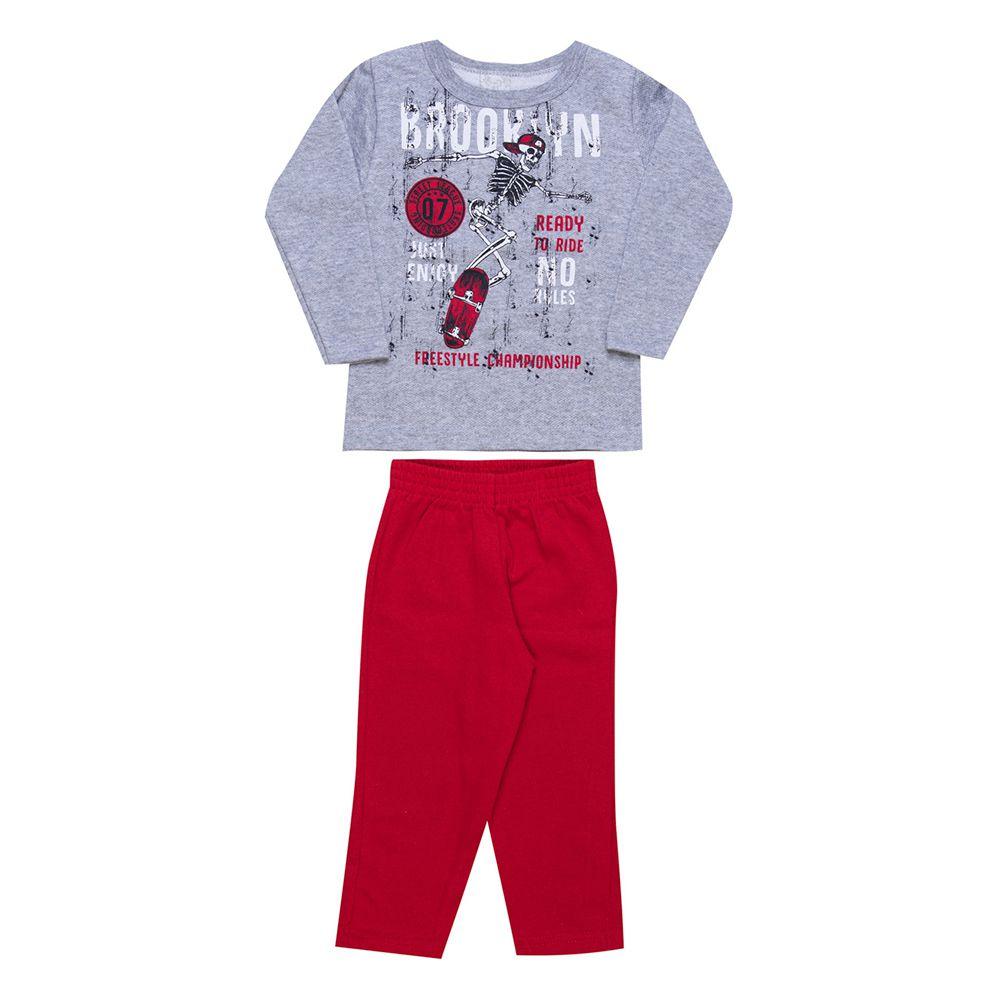 Conjunto Infantil  2 peças - Ref 1960 - Mescla/Vermelho
