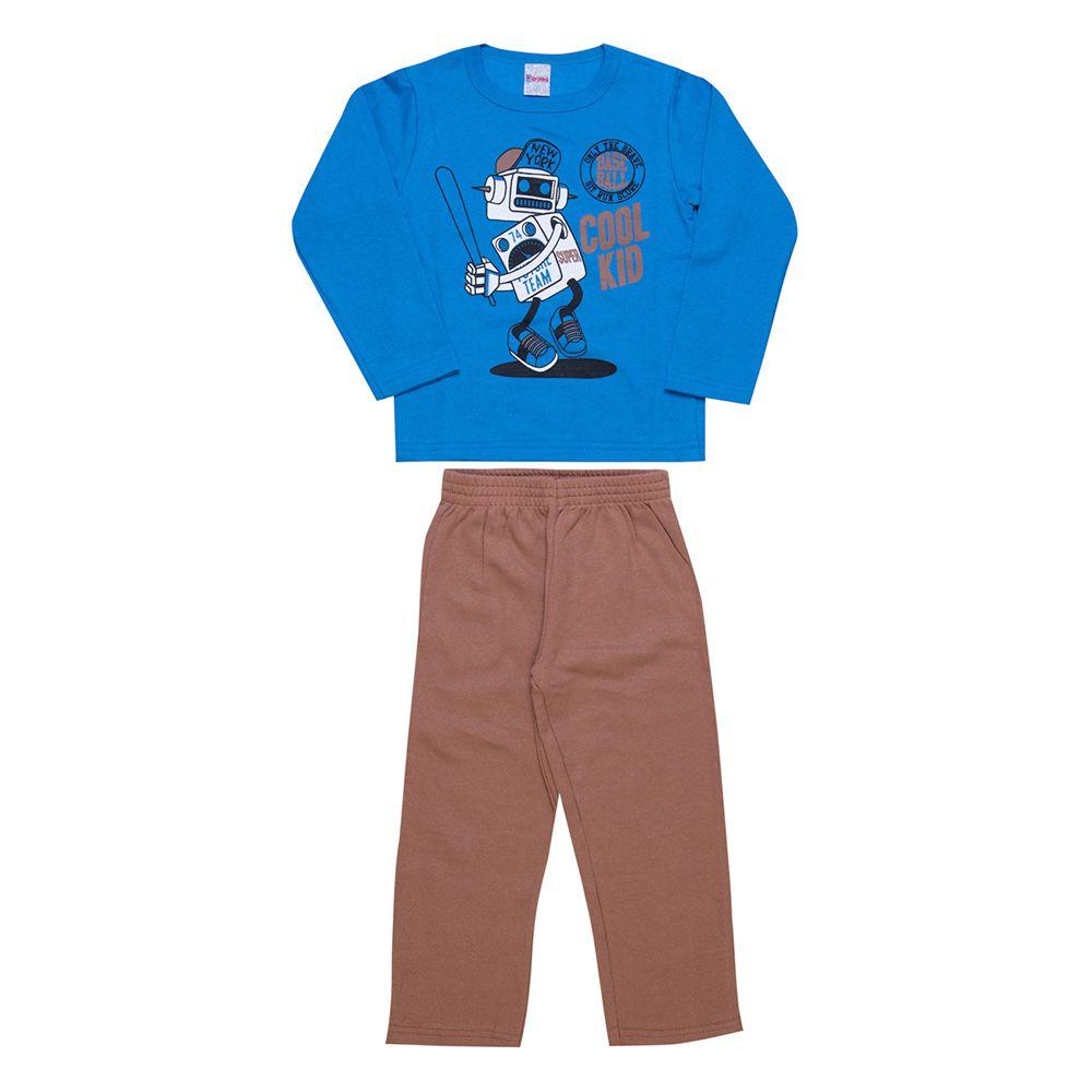 Conjunto Infantil  2 peças - Ref 1965 - Azul/Marrom