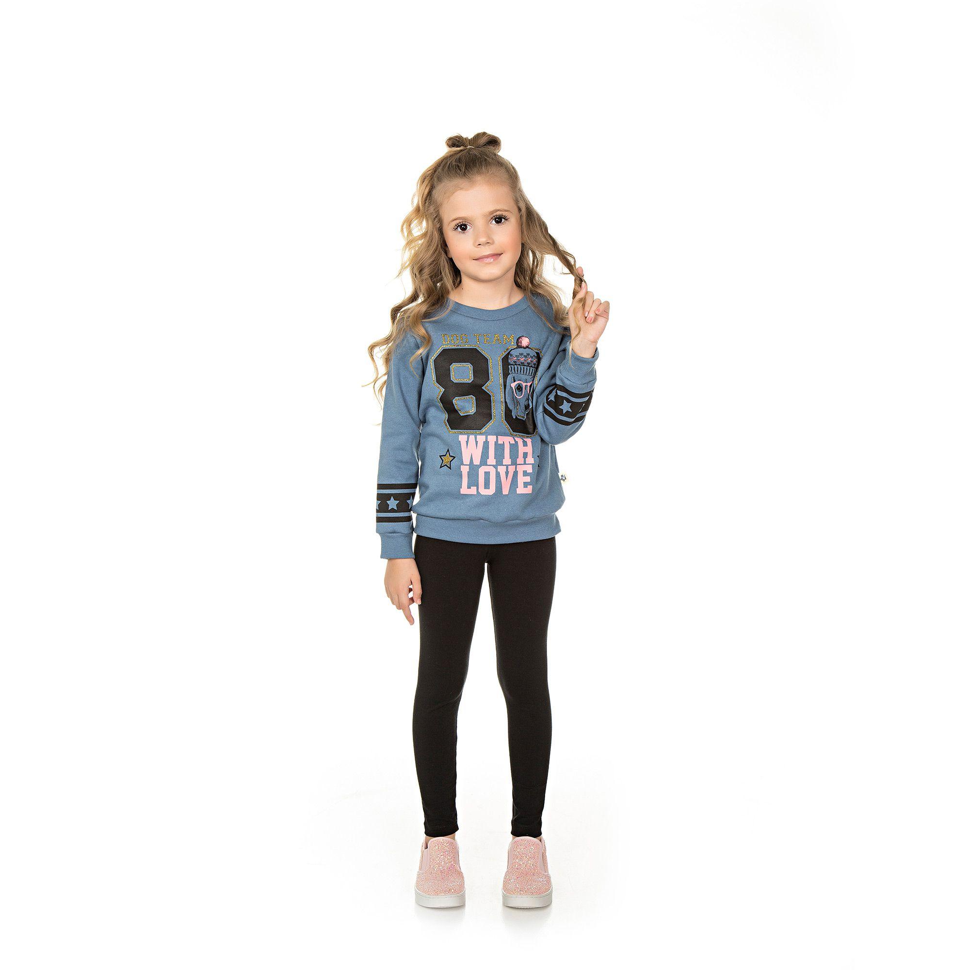 Conjunto Infantil Casaco e Legging - Ref 4988 - Diadema/Preto
