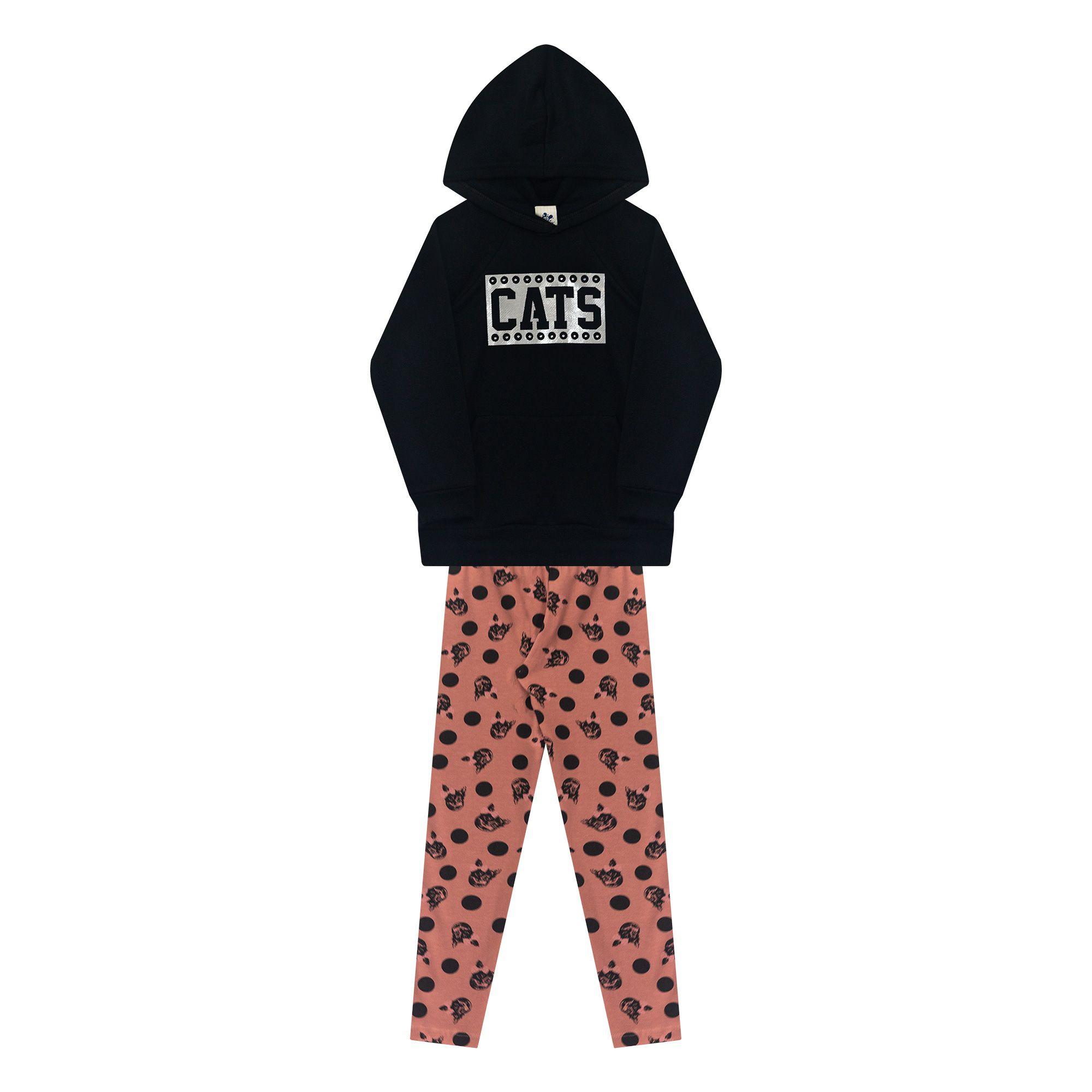 Conjunto Infantil Casaco e Legging - Ref 4989 - Preto/E31