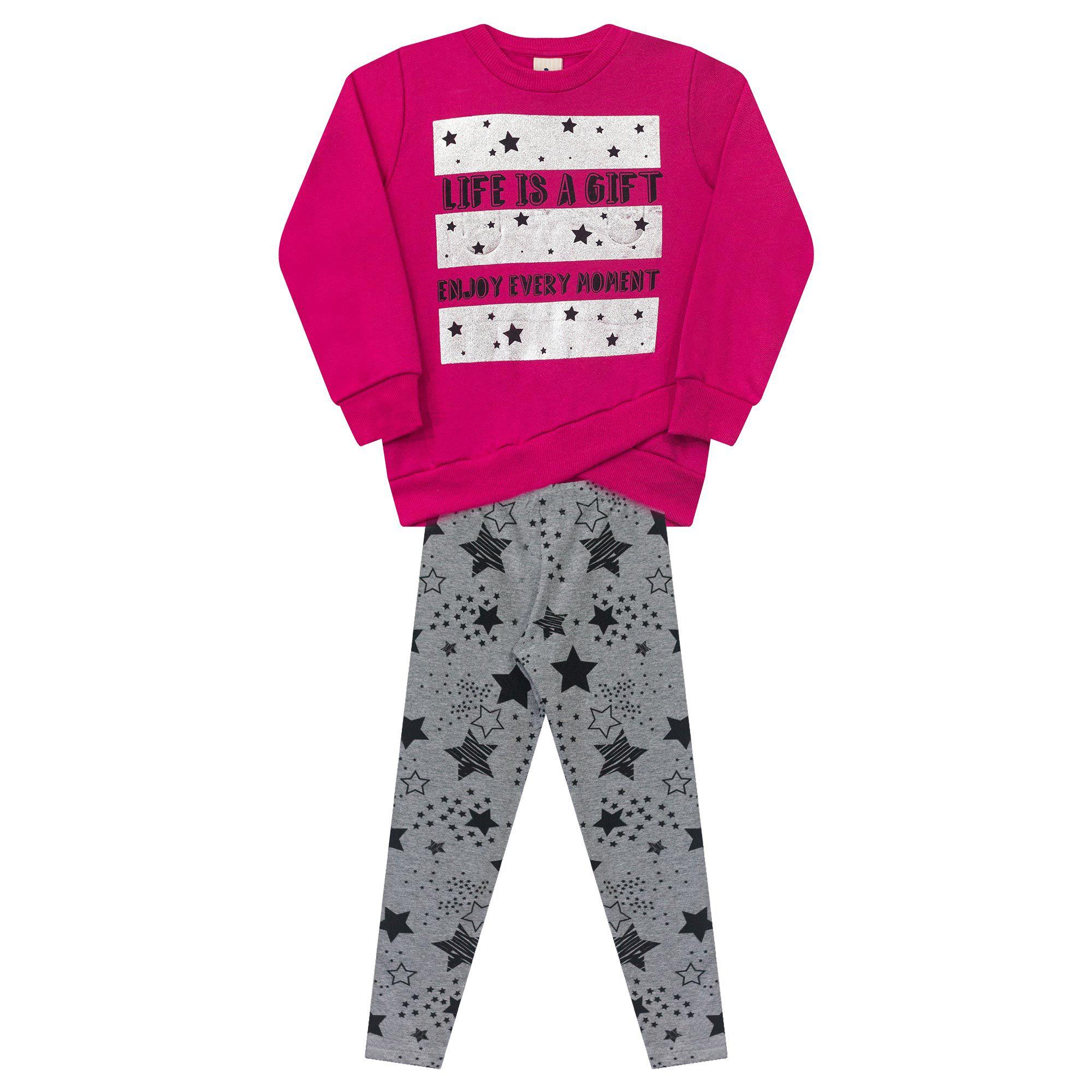 Conjunto Infantil Casaco e Legging  - Ref 4991 - Pink/Mescla