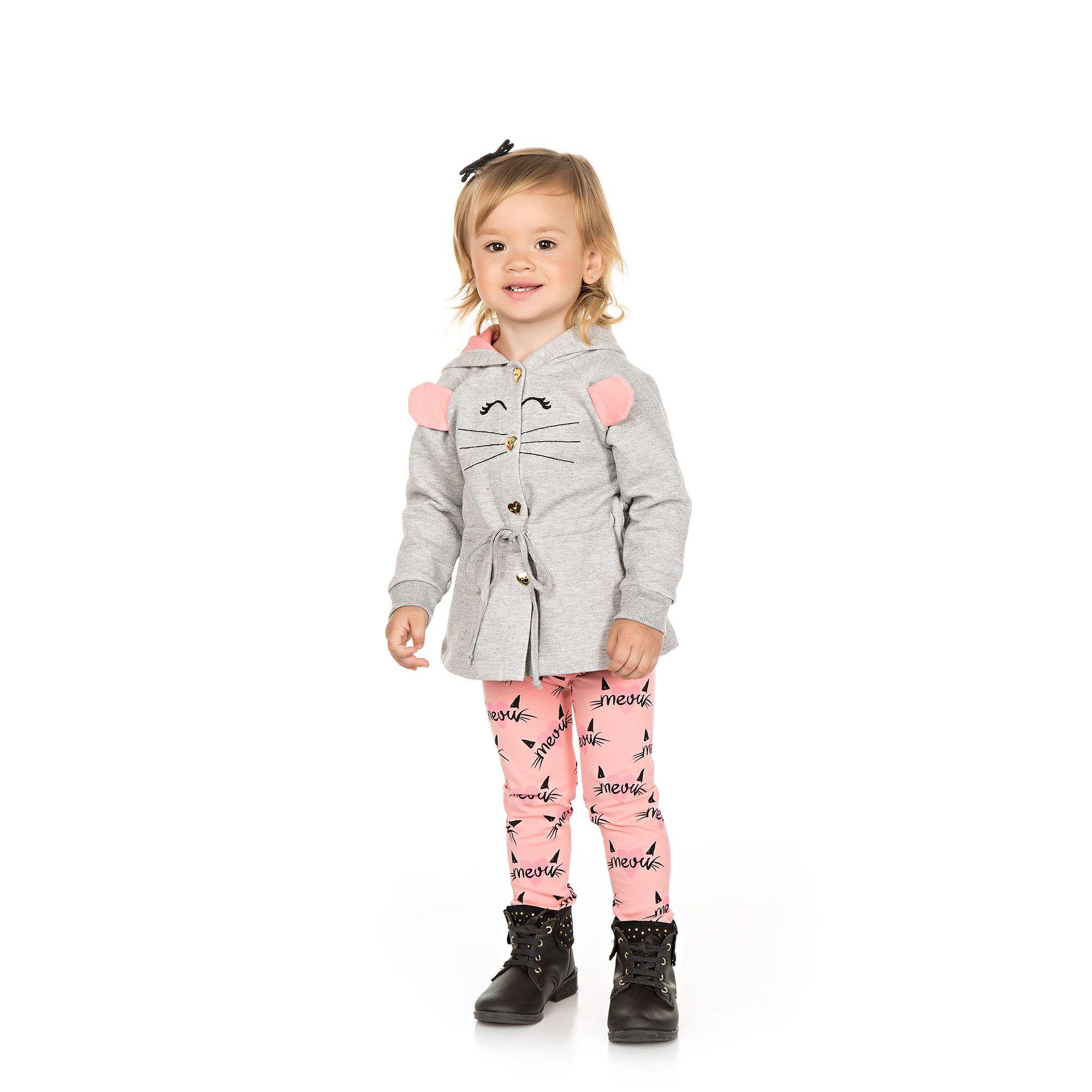 Conjunto Infantil Casaco + Legging 2 peças - Ref 4957 - Mescla/Tutti Frutti