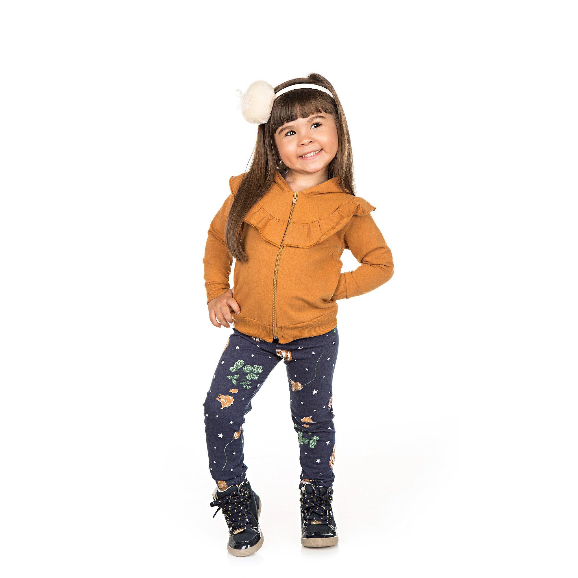 Conjunto Infantil Casaco + Legging 2 peças - Ref 4958 - Amêndoa/E22