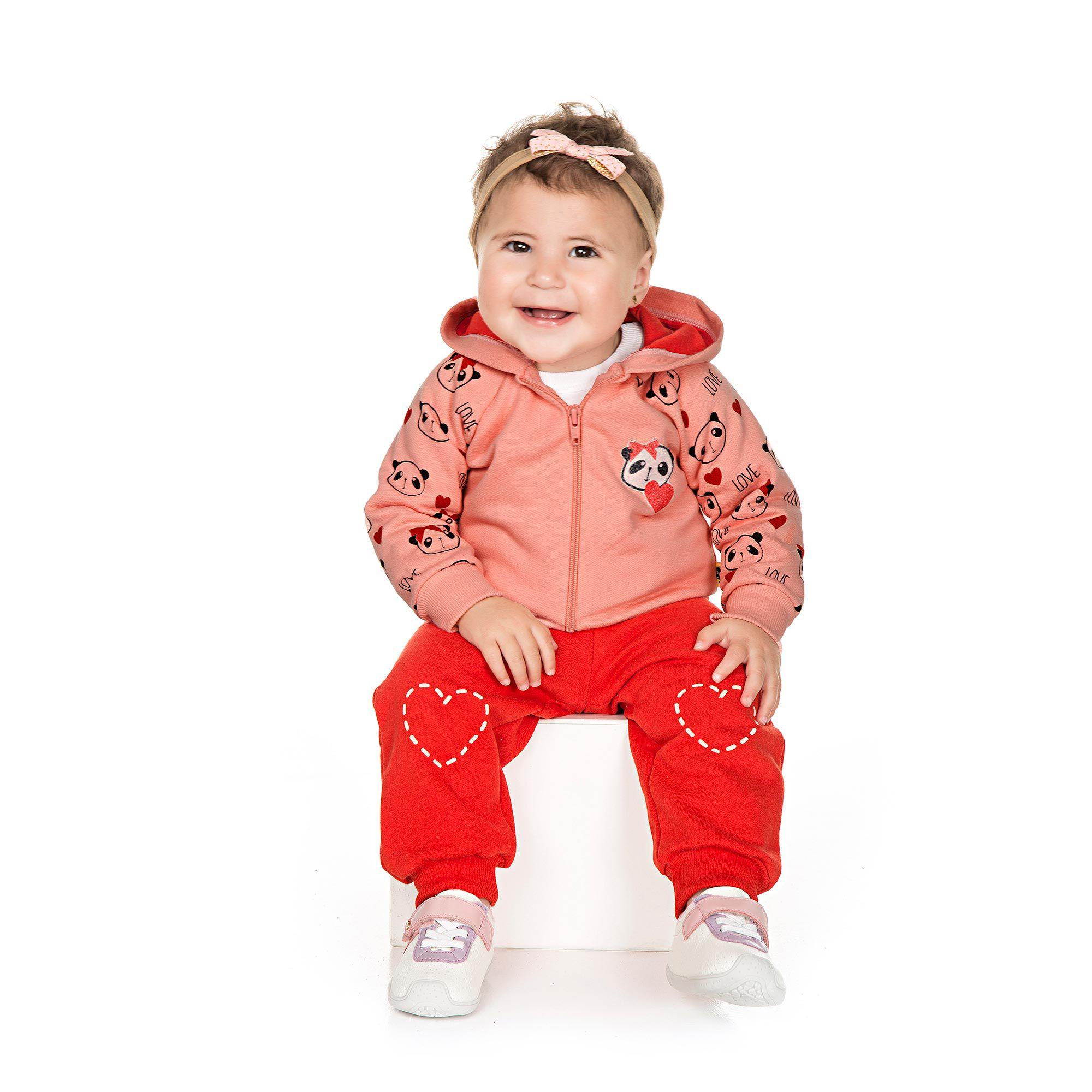 Conjunto Infantil de Moletom para Bebê 2 peças - Ref 4931 - Rosa/Vermelho