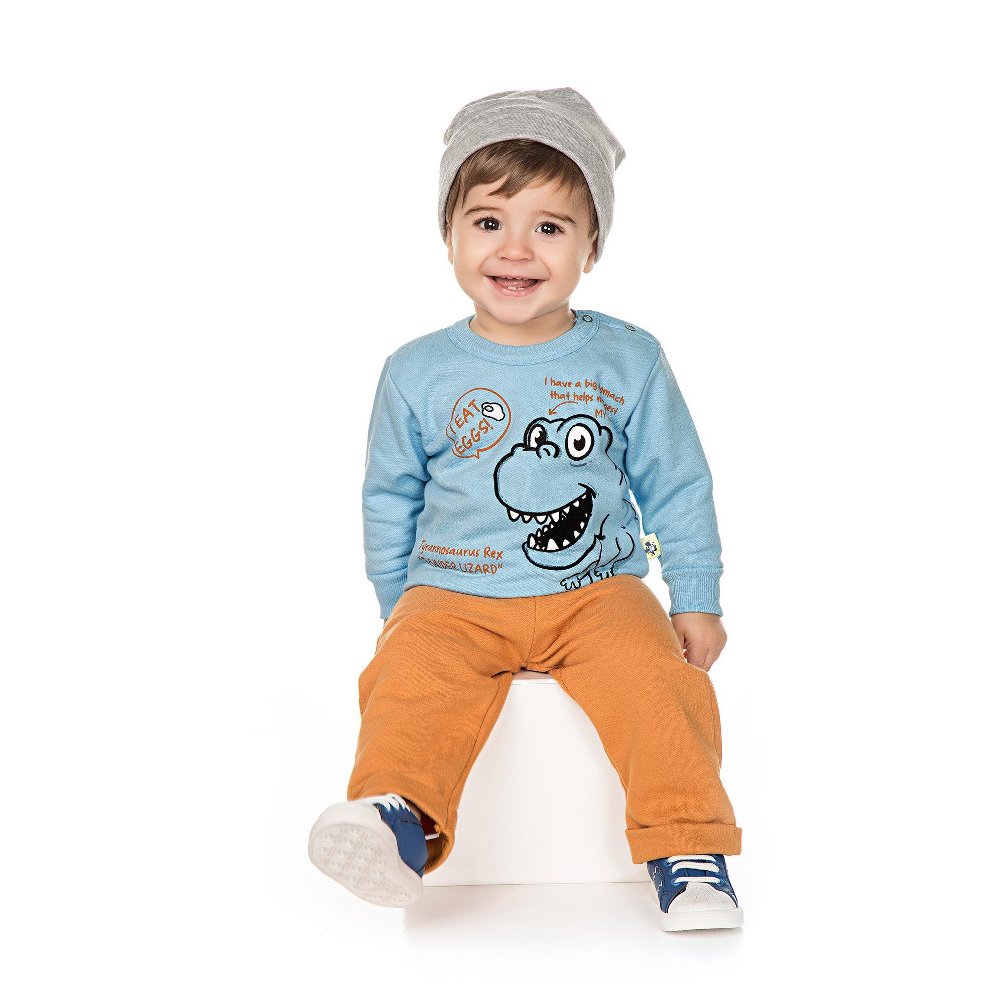 Conjunto Infantil de Moletom para Bebê 2 peças - Ref 4943 - Céu Azul/Amêndoa