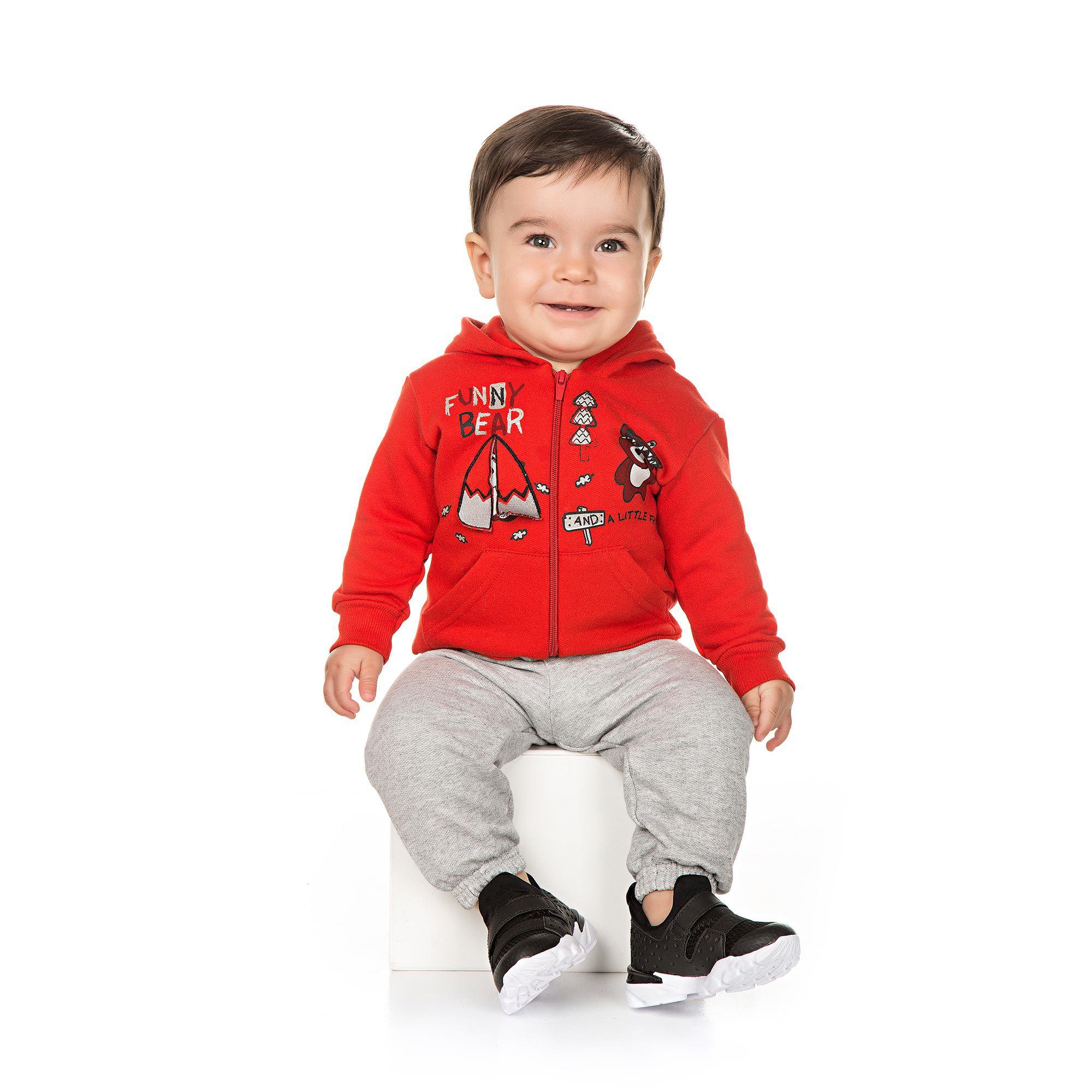 Conjunto Infantil de Moletom para Bebê 2 peças - Ref 4944 - Vermelho/Mescla