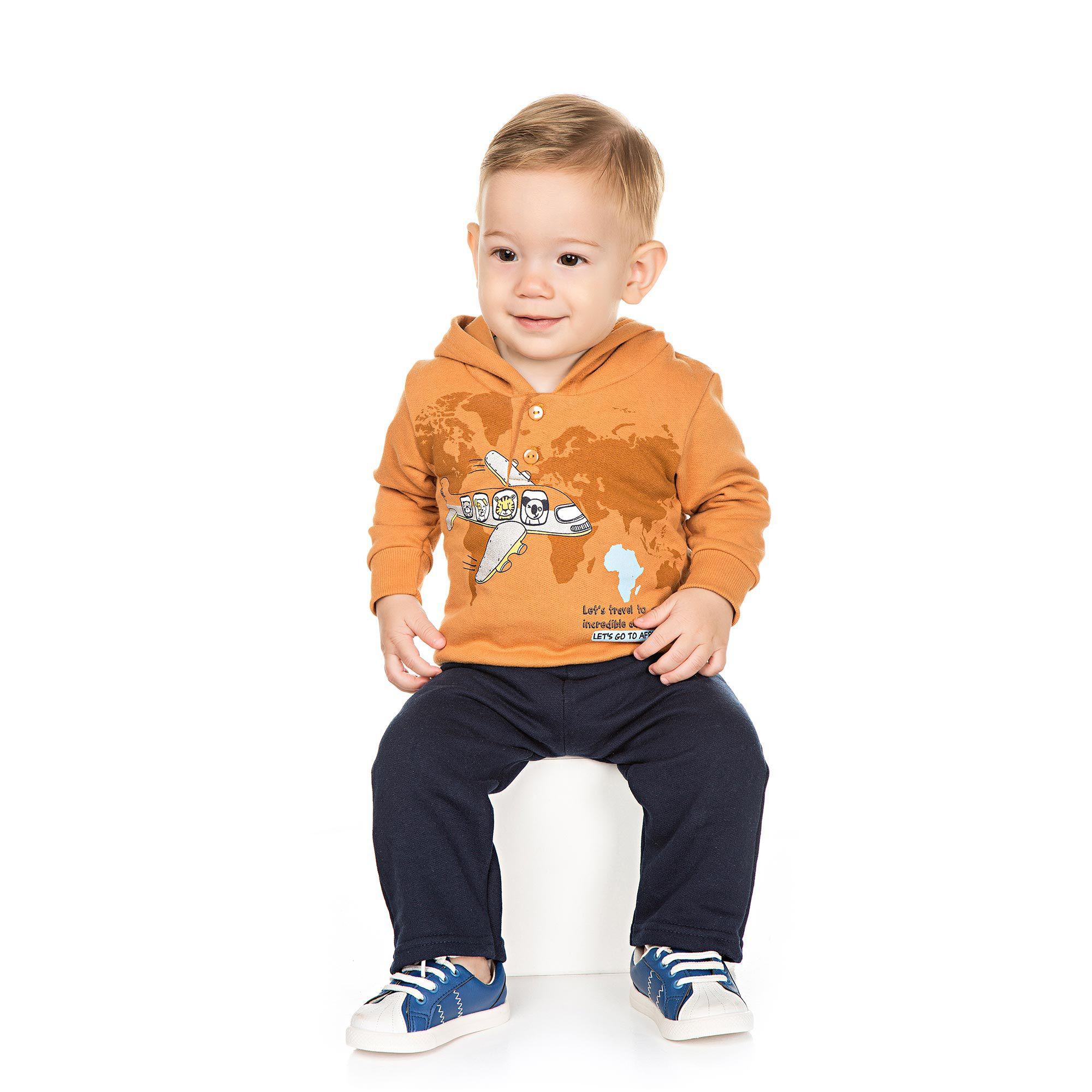 Conjunto Infantil de Moletom para Bebê 2 peças - Ref 4945 - Amêndoa/Marinho