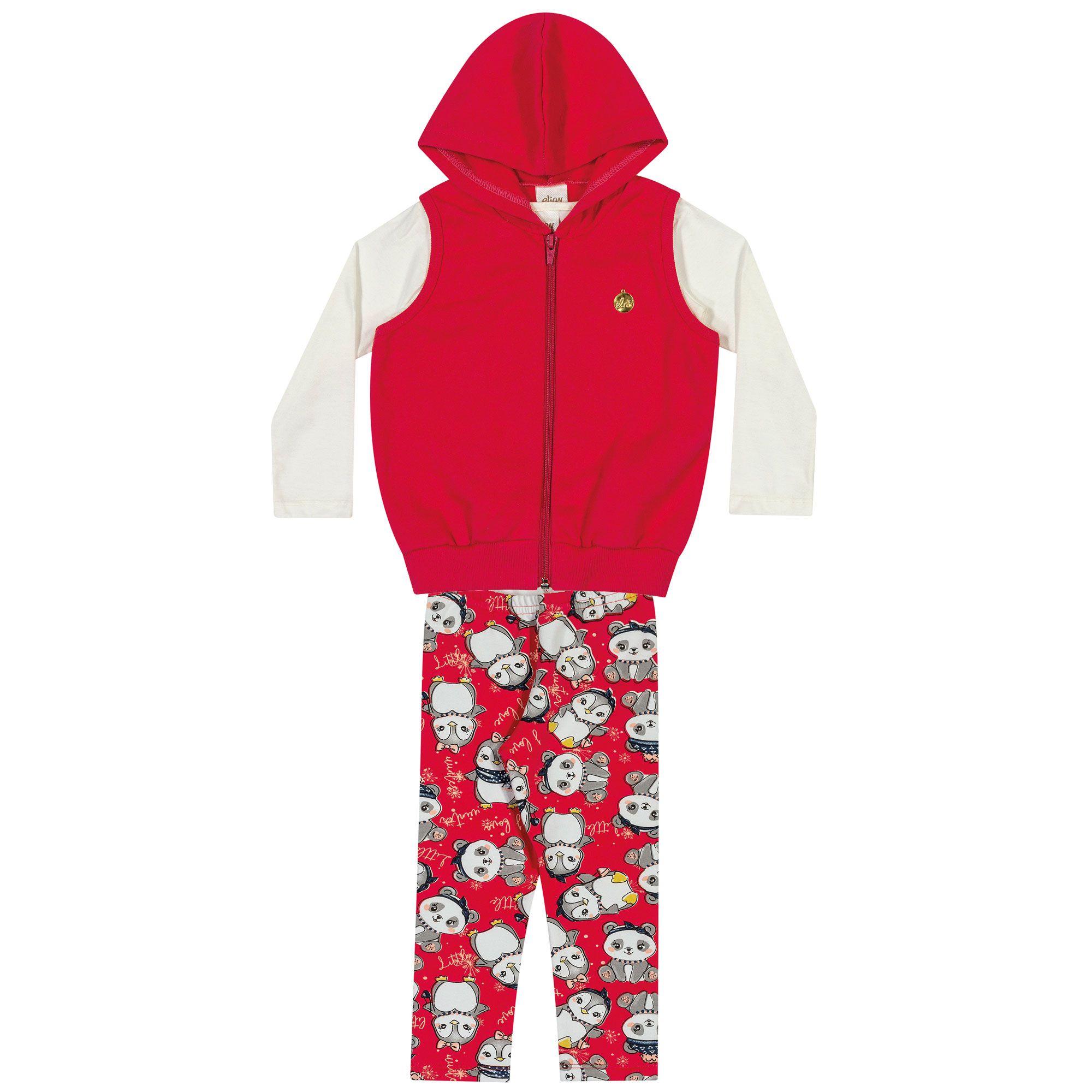 Conjunto Infantil Elian 3 peças - Ref 231193 - Vermelho