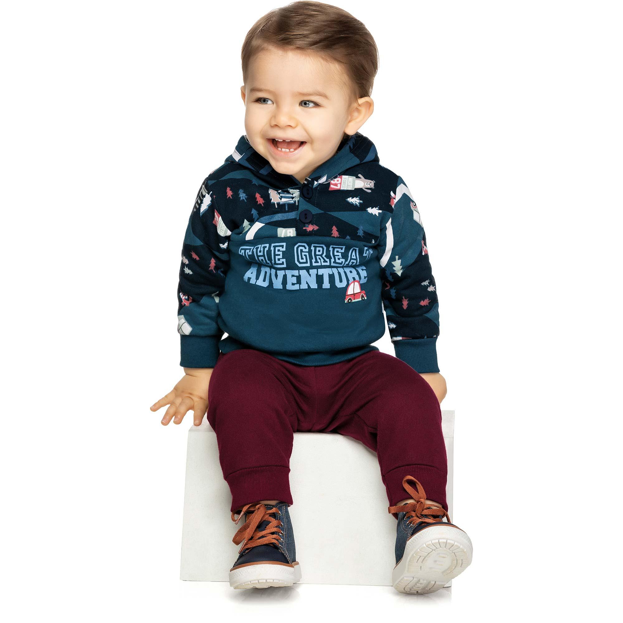 Conjunto Infantil Elian com Blusão e Calça em Moletom - Ref 20752 - Marinho
