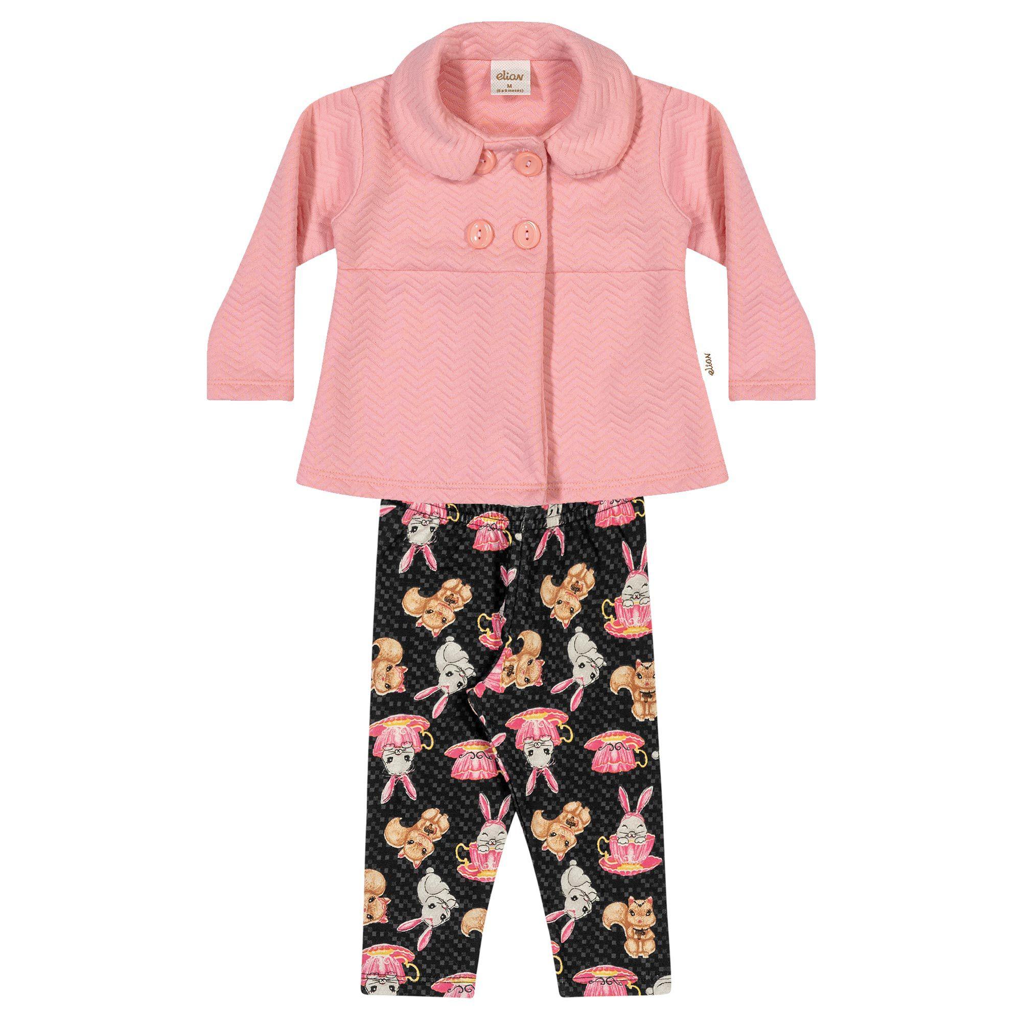 Conjunto Infantil Elian com Casaco e Legging - Ref 21882 - Rosa