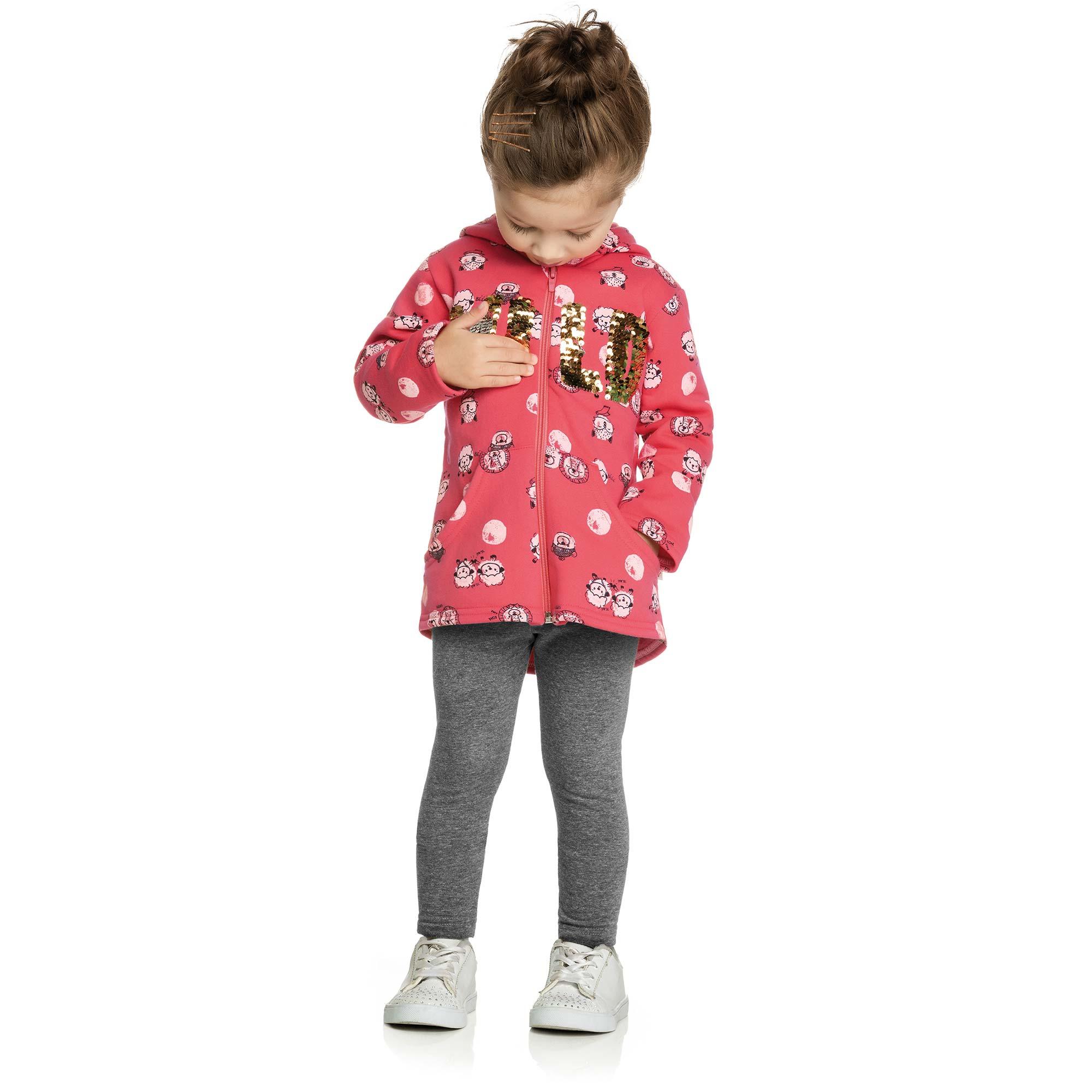 Conjunto Infantil Elian com Casaco e Legging - Ref 231160 - Goiaba