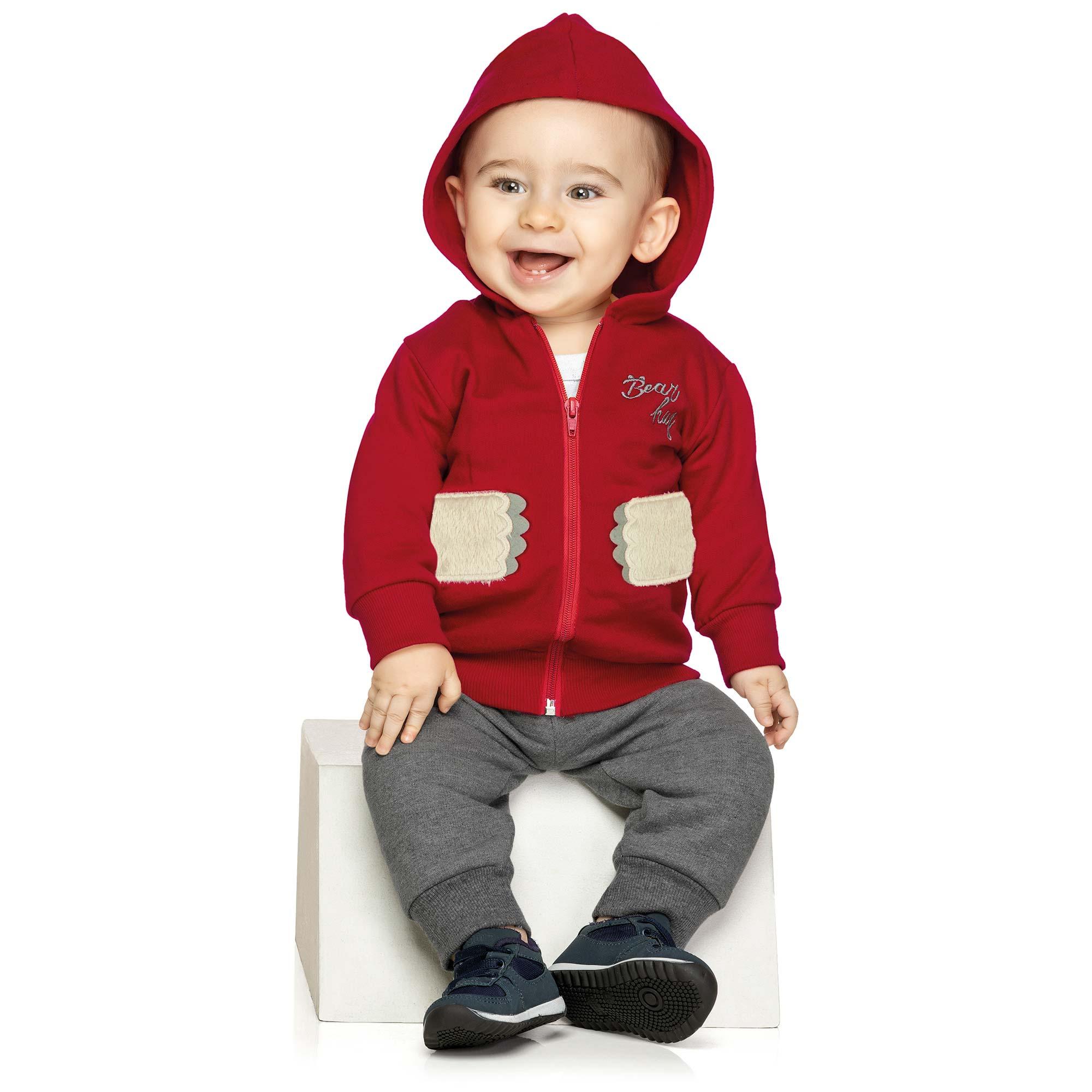 Conjunto Infantil Elian com Jaqueta e Calça em Moletom - Ref 20742 - Vermelho