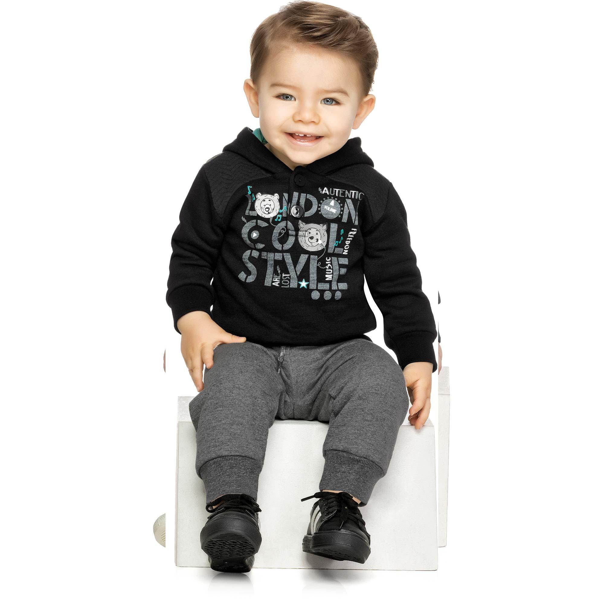 Conjunto Infantil Elian com Jaqueta e Calça em Moletom - Ref 20757 - Preto