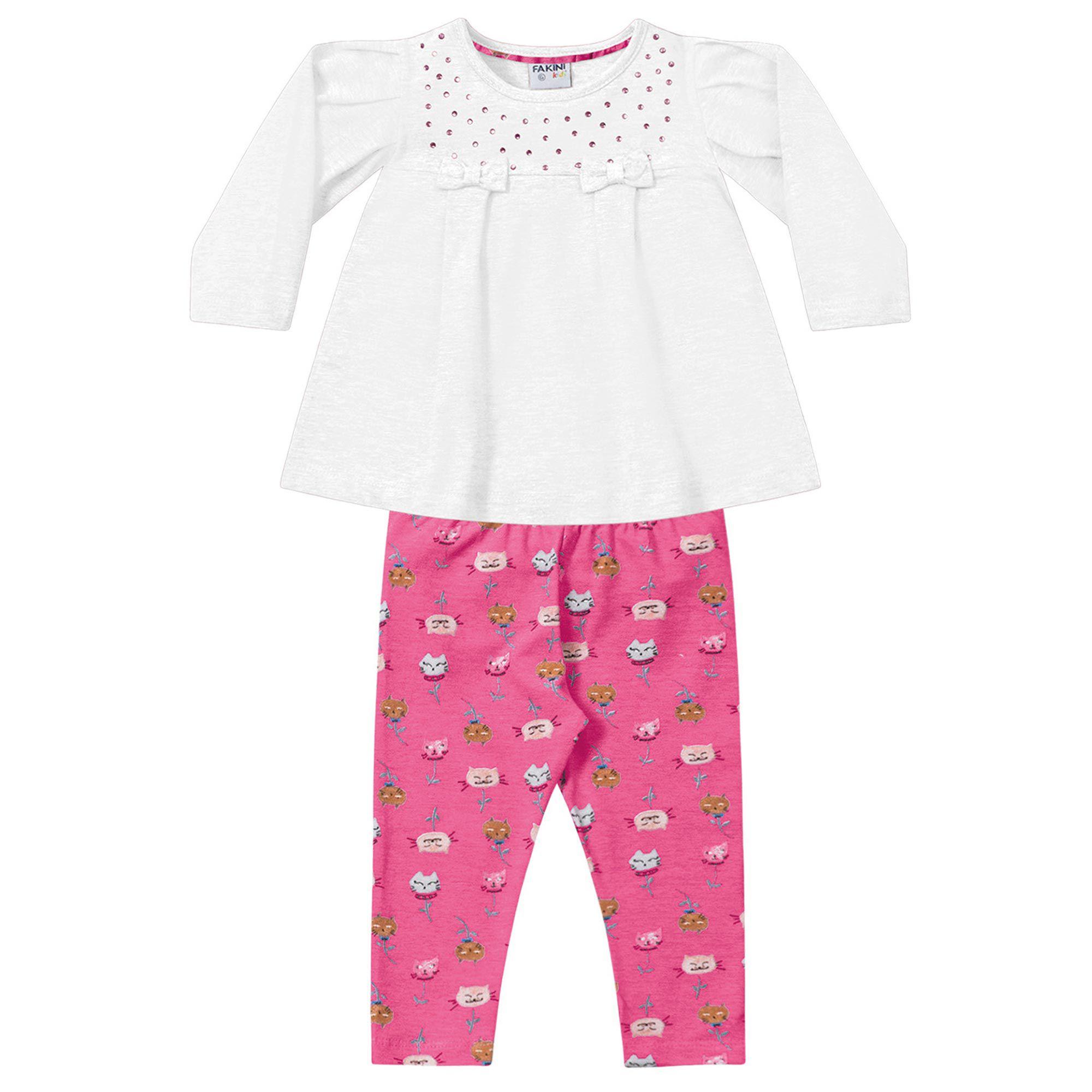 Conjunto Infantil Fakini - Branco/Rosa