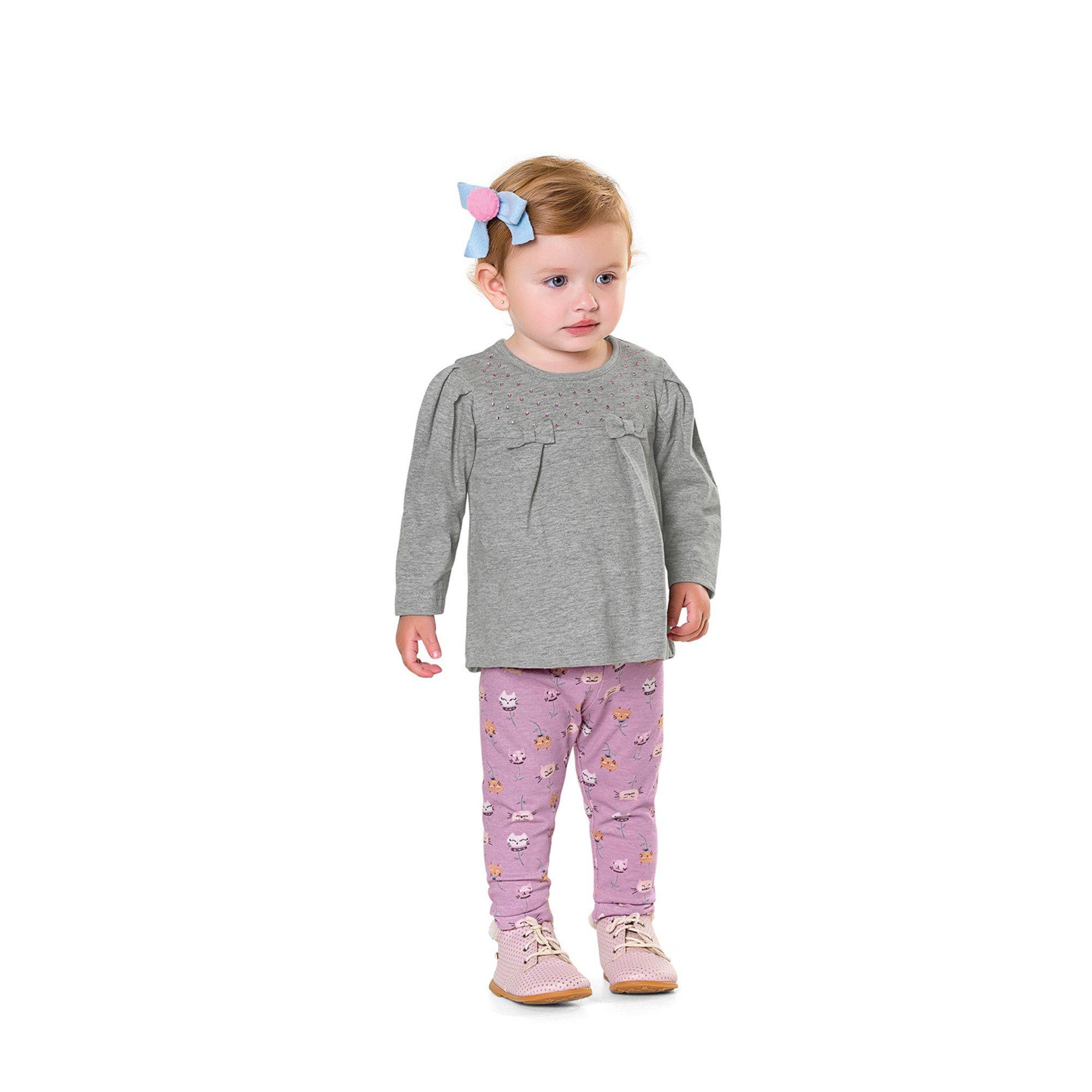 Conjunto Infantil Fakini - Mescla/Rosa