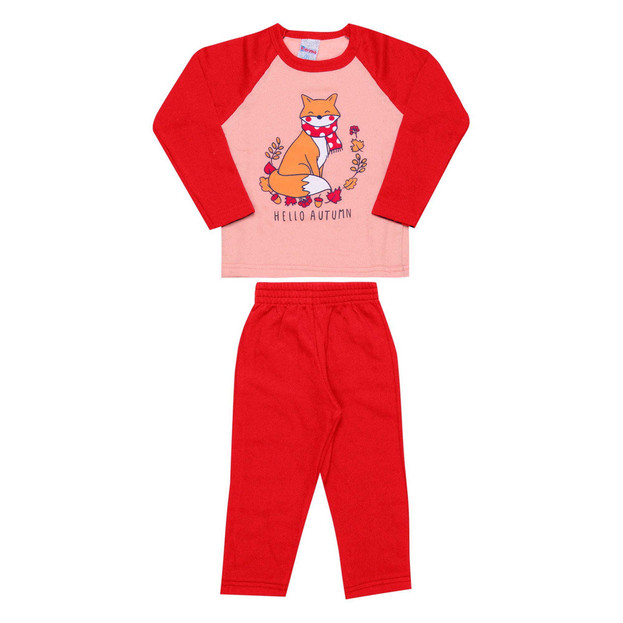 Conjunto Infantil Feminino  2 peças - Ref 1942 - Rosa/Vermelho