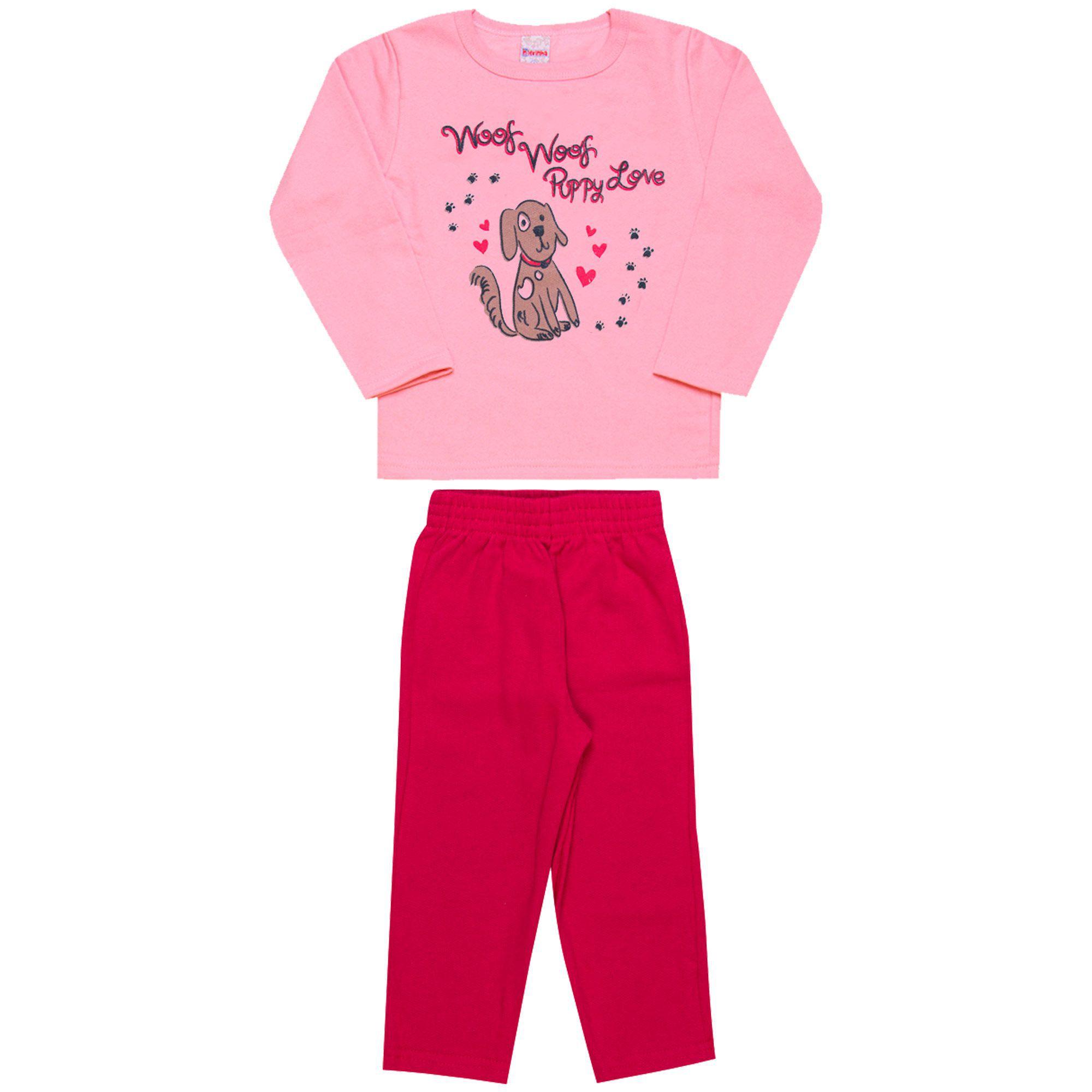 Conjunto Infantil Feminino  2 peças - Ref 1943 - Rosa/Pink