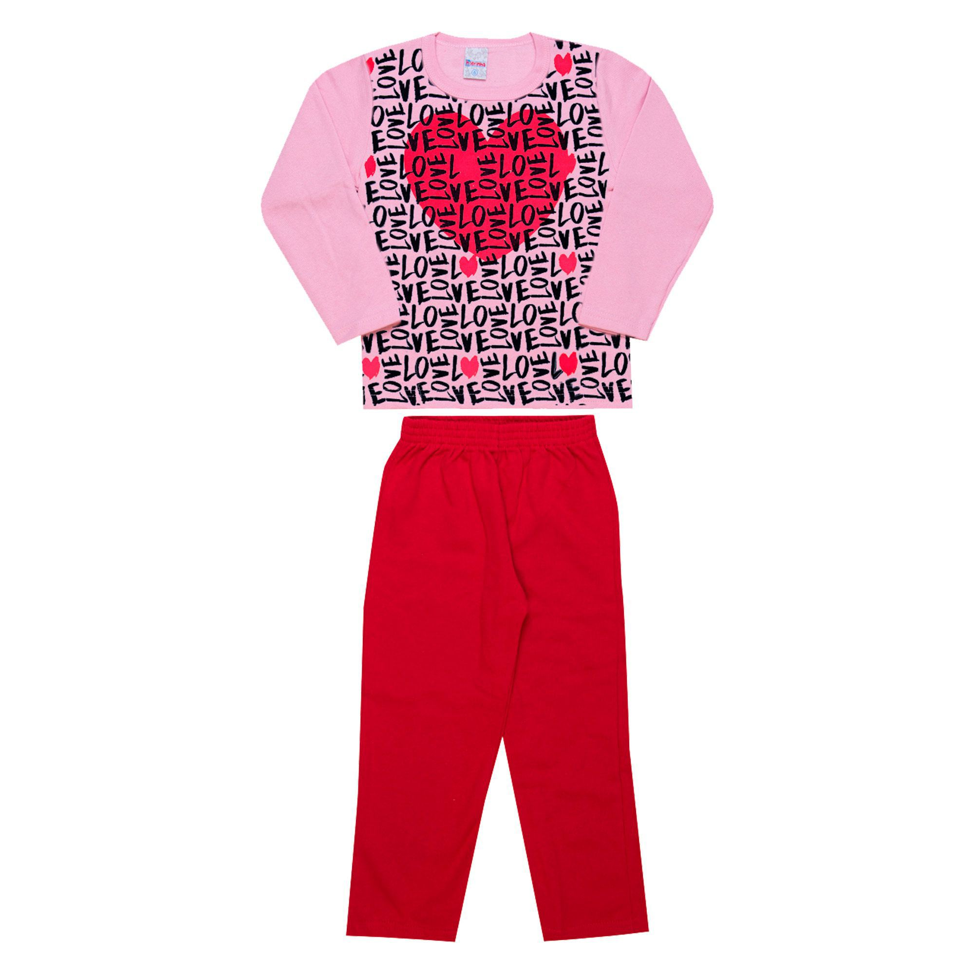 Conjunto Infantil Feminino  2 peças - Ref 1950 - Rosa/Vermelho