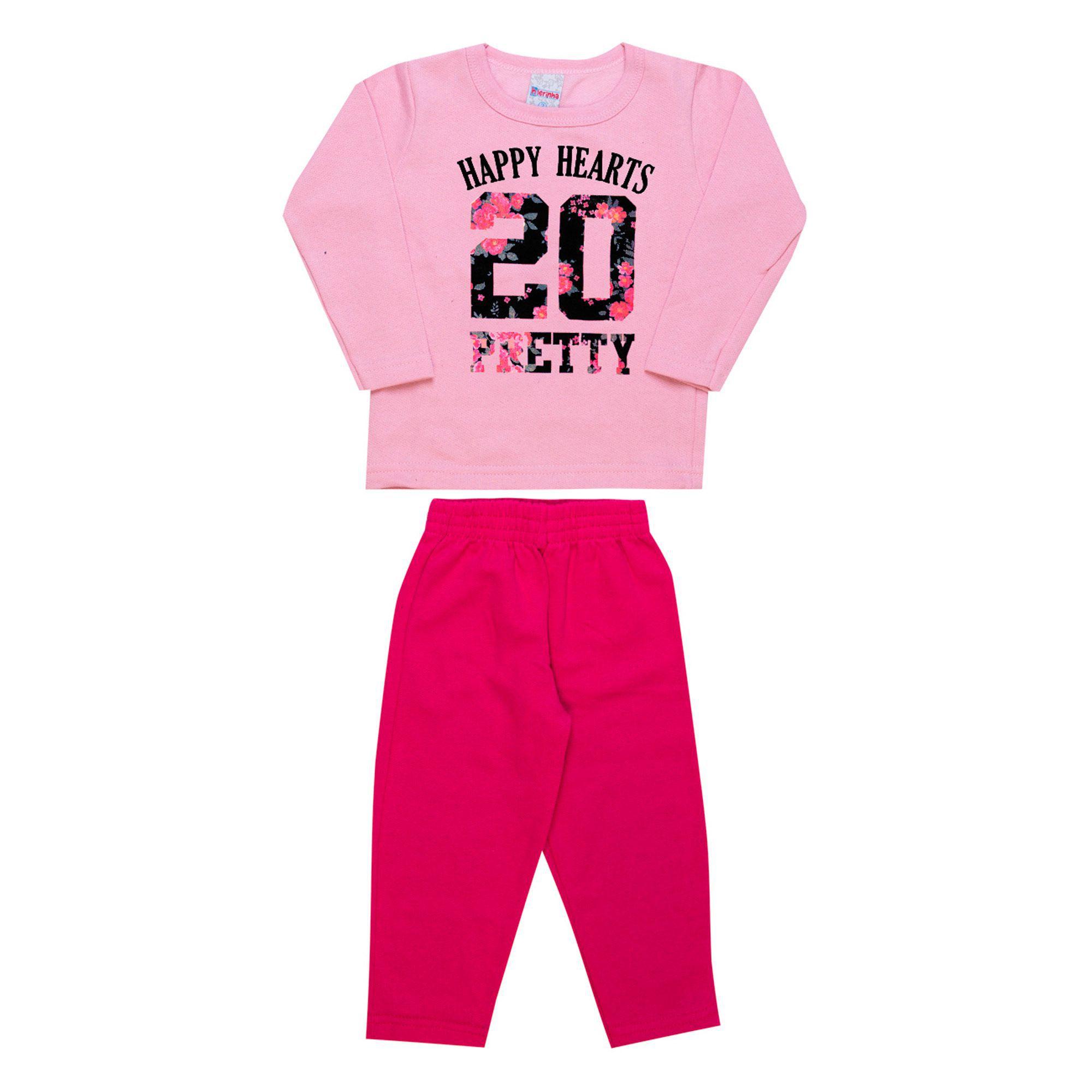 Conjunto Infantil Feminino  2 peças - Ref 1952 - Rosa/Pink