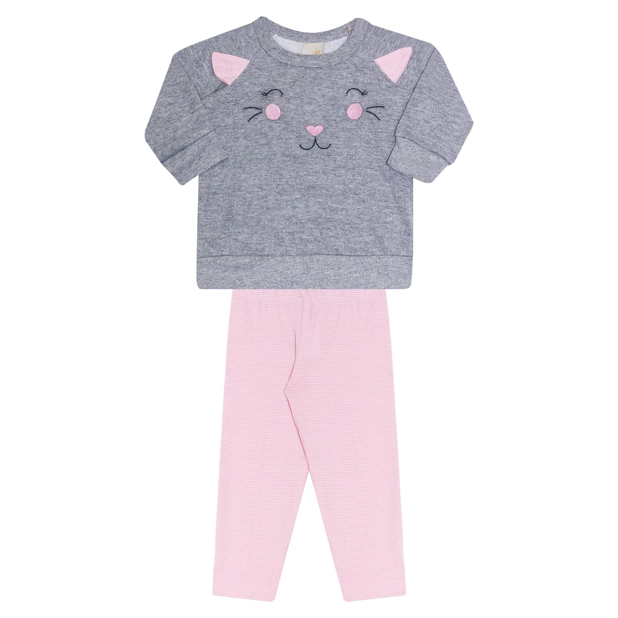 Conjunto Infantil Feminino  2 peças - Ref 7055 - Mescla/Rosa - Ralakids