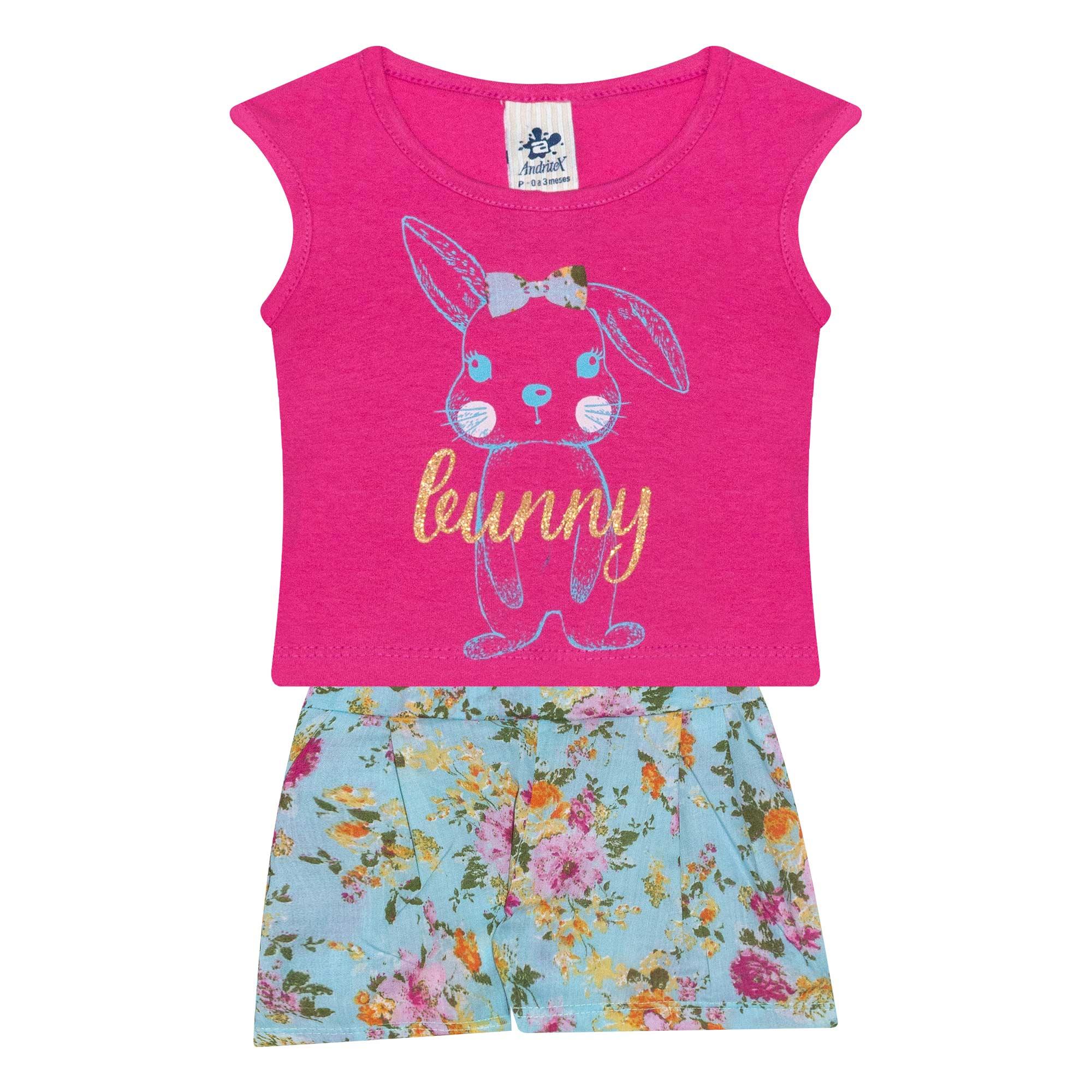 Conjunto Infantil Feminino Coelhinho - Ref 4683 - Rosa - Andritex