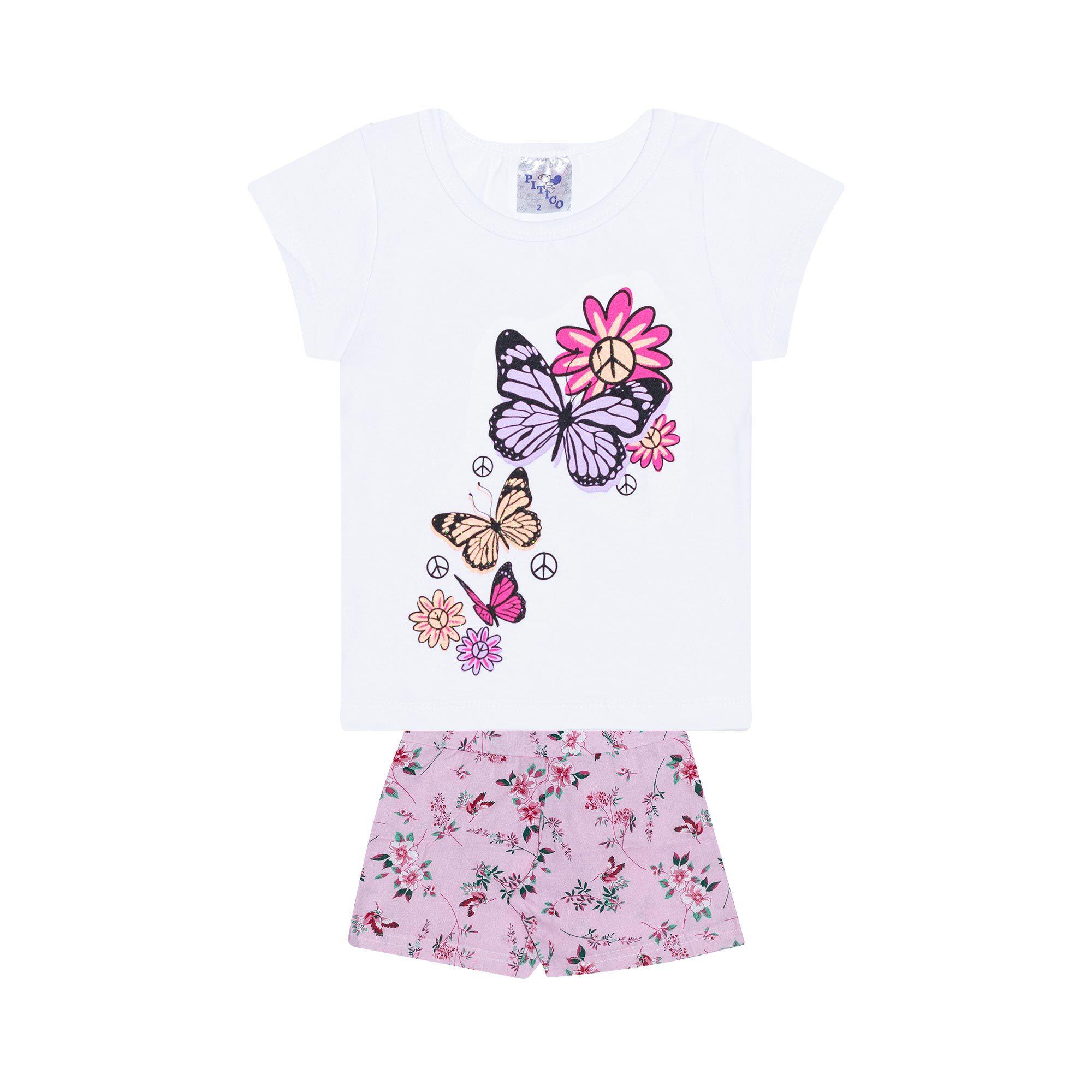 Conjunto Infantil Feminino - Ref 1002 - Branco/Rosa - Pitico