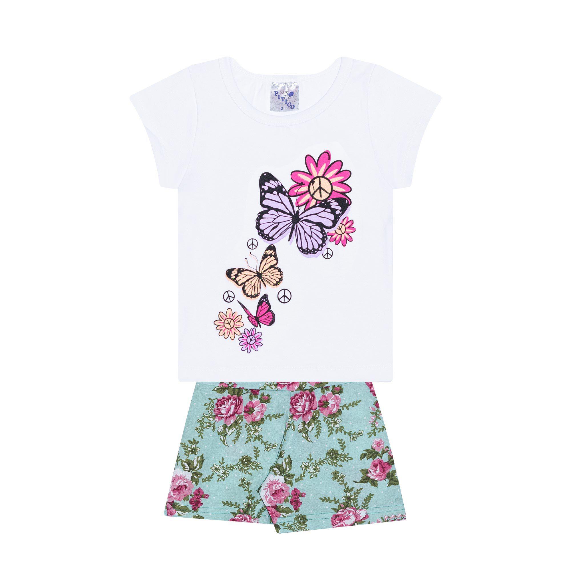 Conjunto Infantil Feminino - Ref 1005 - Branco/Verde - Pitico