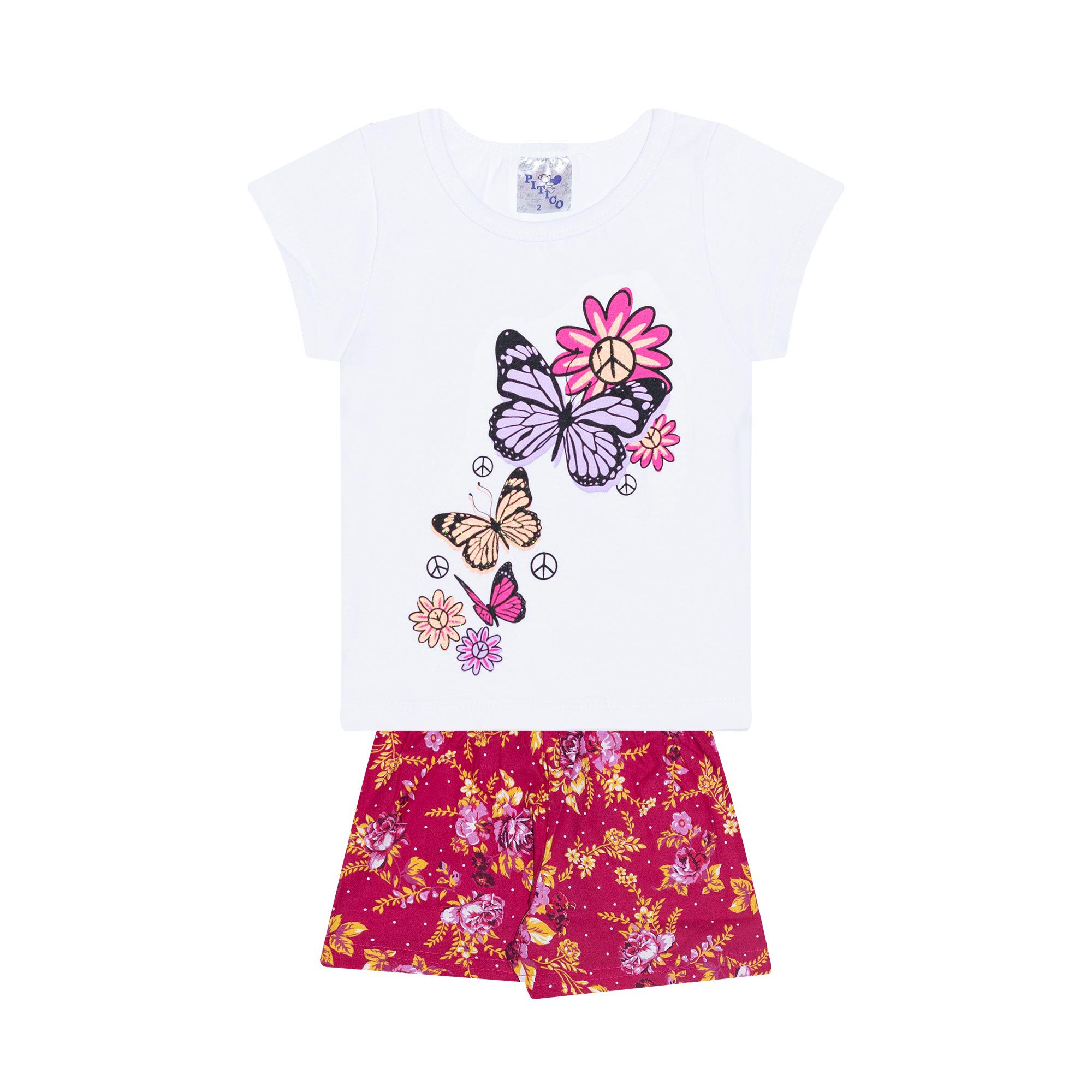 Conjunto Infantil Feminino - Ref 1006 - Branco/Pink - Pitico