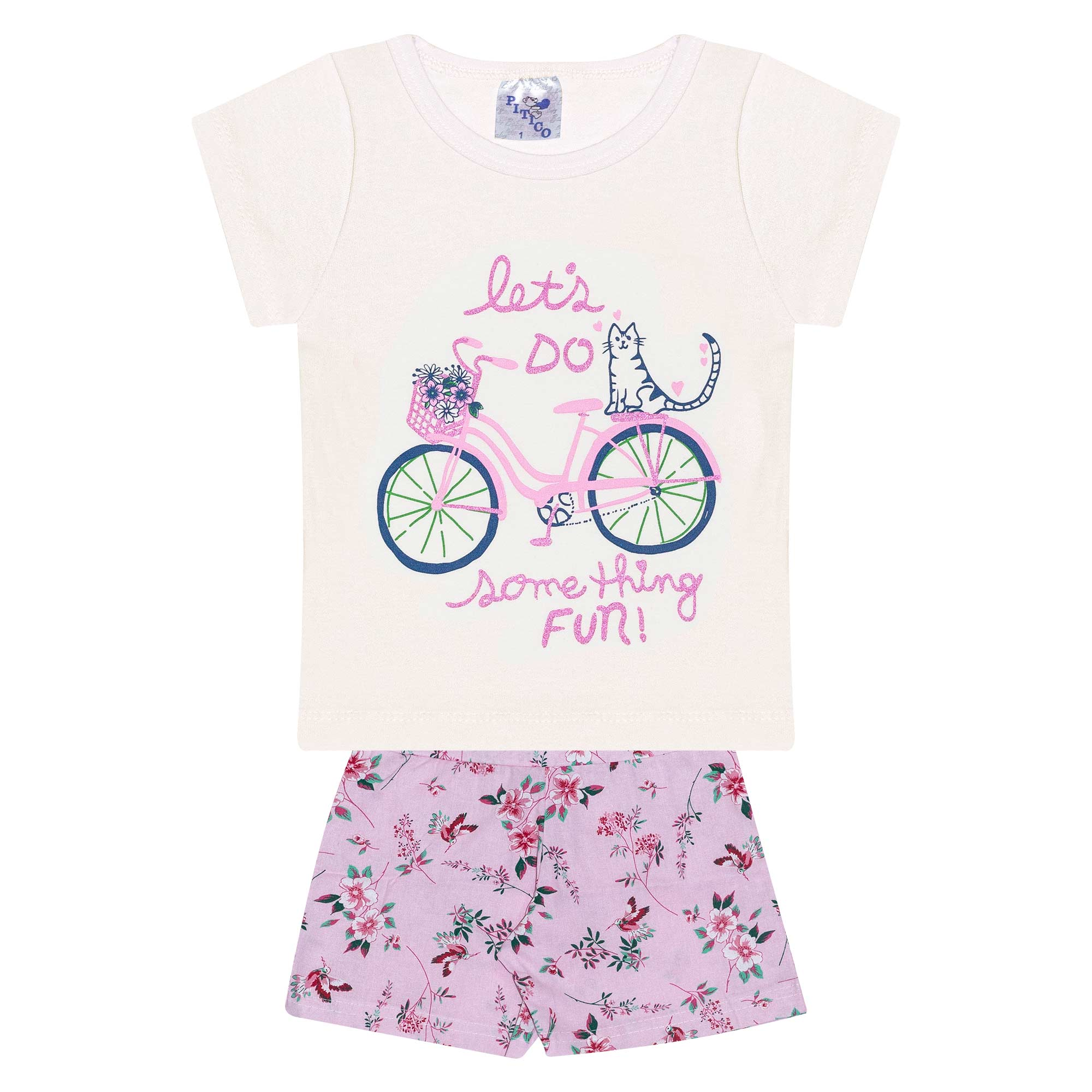 Conjunto Infantil Feminino - Ref 1009 - Pérola/Rosa - Pitico
