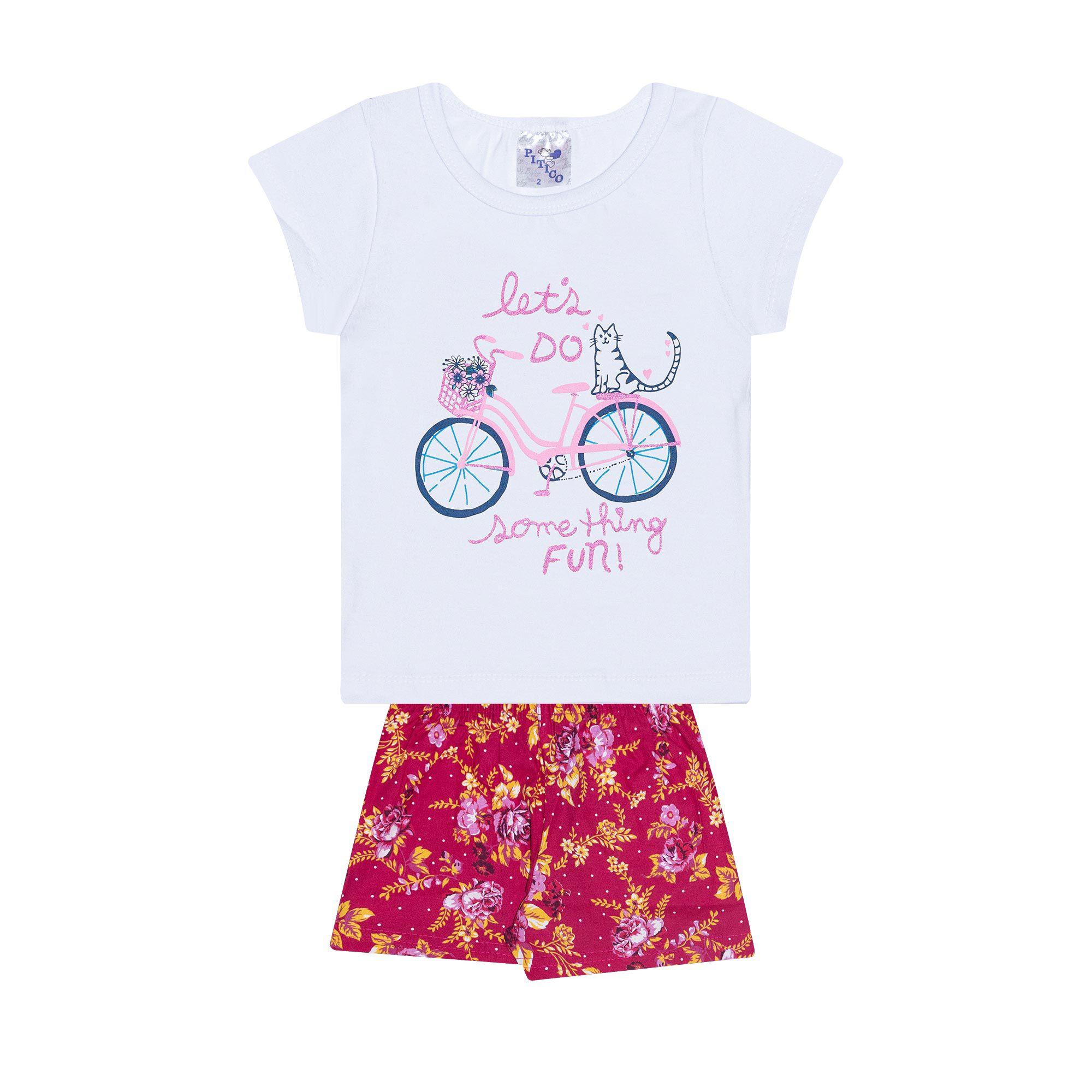 Conjunto Infantil Feminino - Ref 1010 - Branco/Pink - Pitico