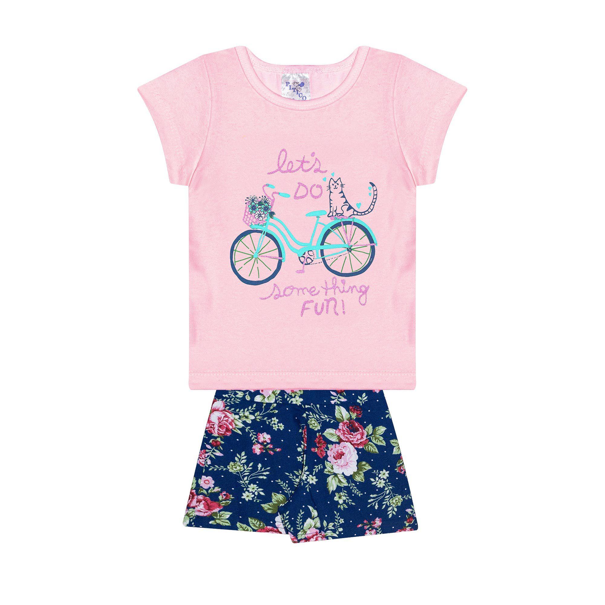 Conjunto Infantil Feminino - Ref 1012 - Rosa/Azul - Pitico