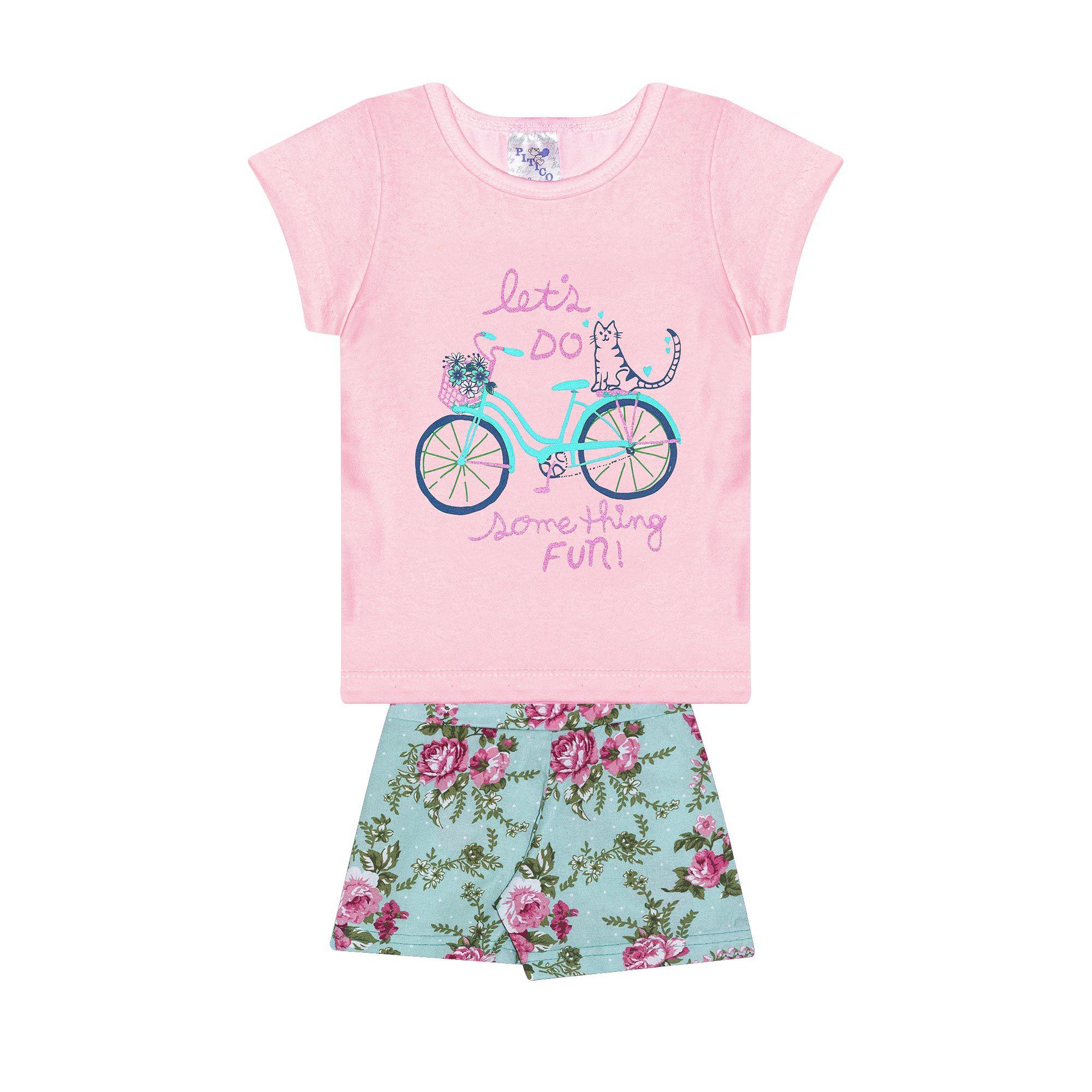 Conjunto Infantil Feminino - Ref 1013 - Rosa/Verde - Pitico