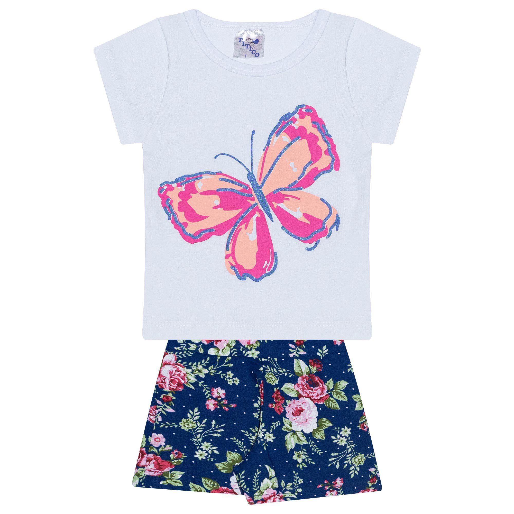 Conjunto Infantil Feminino - Ref 1014 - Branco/Azul - Pitico