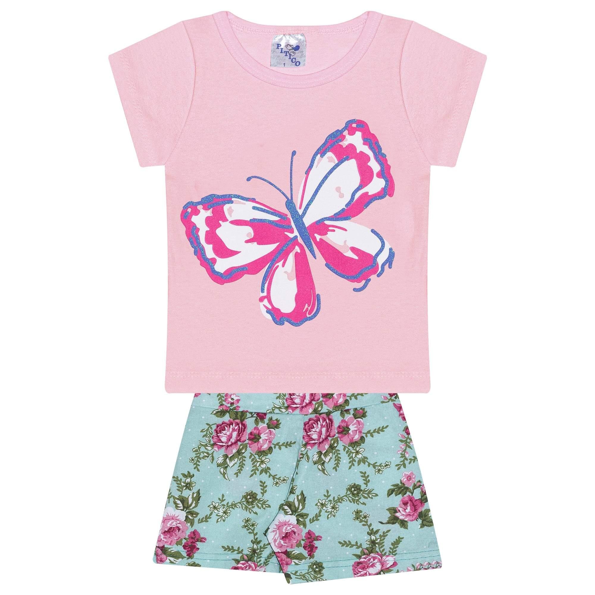 Conjunto Infantil Feminino - Ref 1016 - Rosa/Verde - Pitico